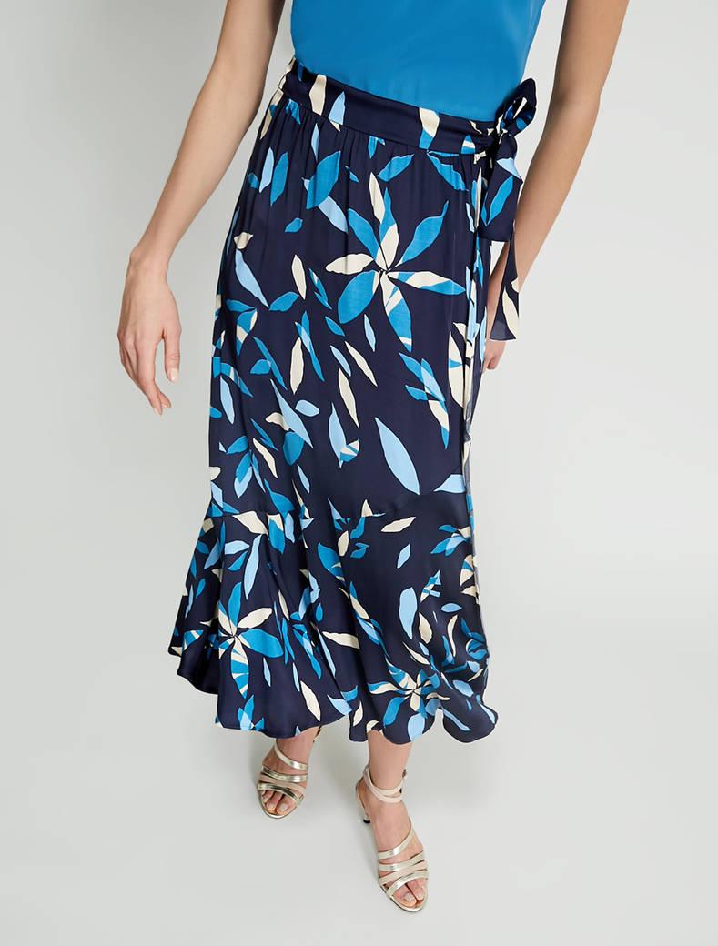 Satin pareo skirt - navy blue pattern - pennyblack