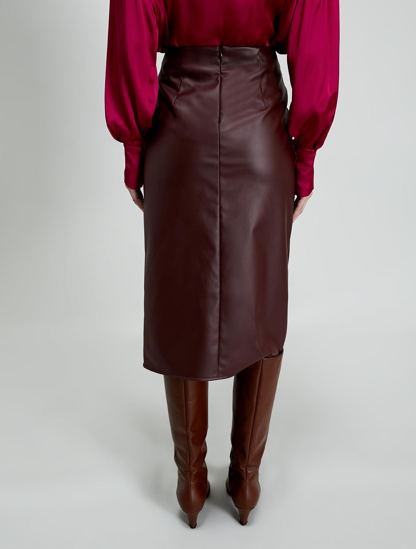 Coated jersey pencil skirt - burgundy - pennyblack