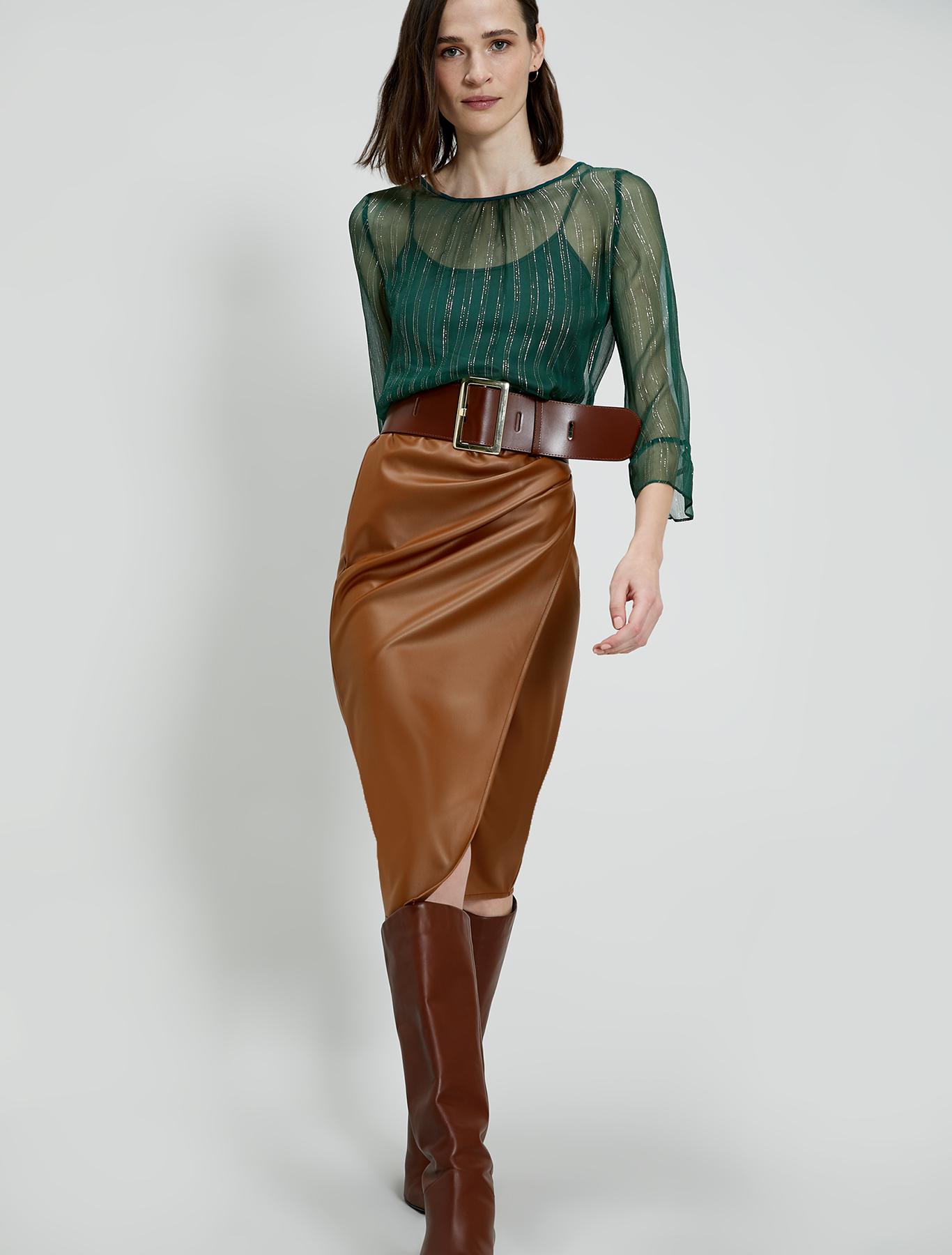 Coated jersey pencil skirt - camel - pennyblack