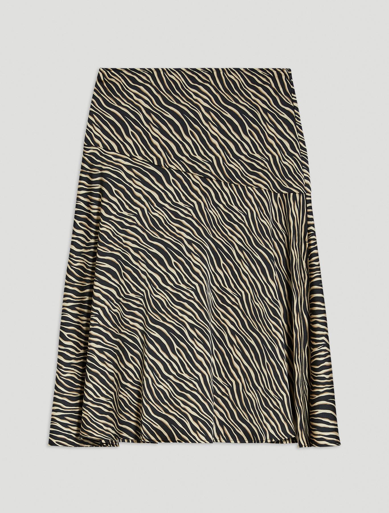 Zebra-striped satin skirt - black pattern - pennyblack