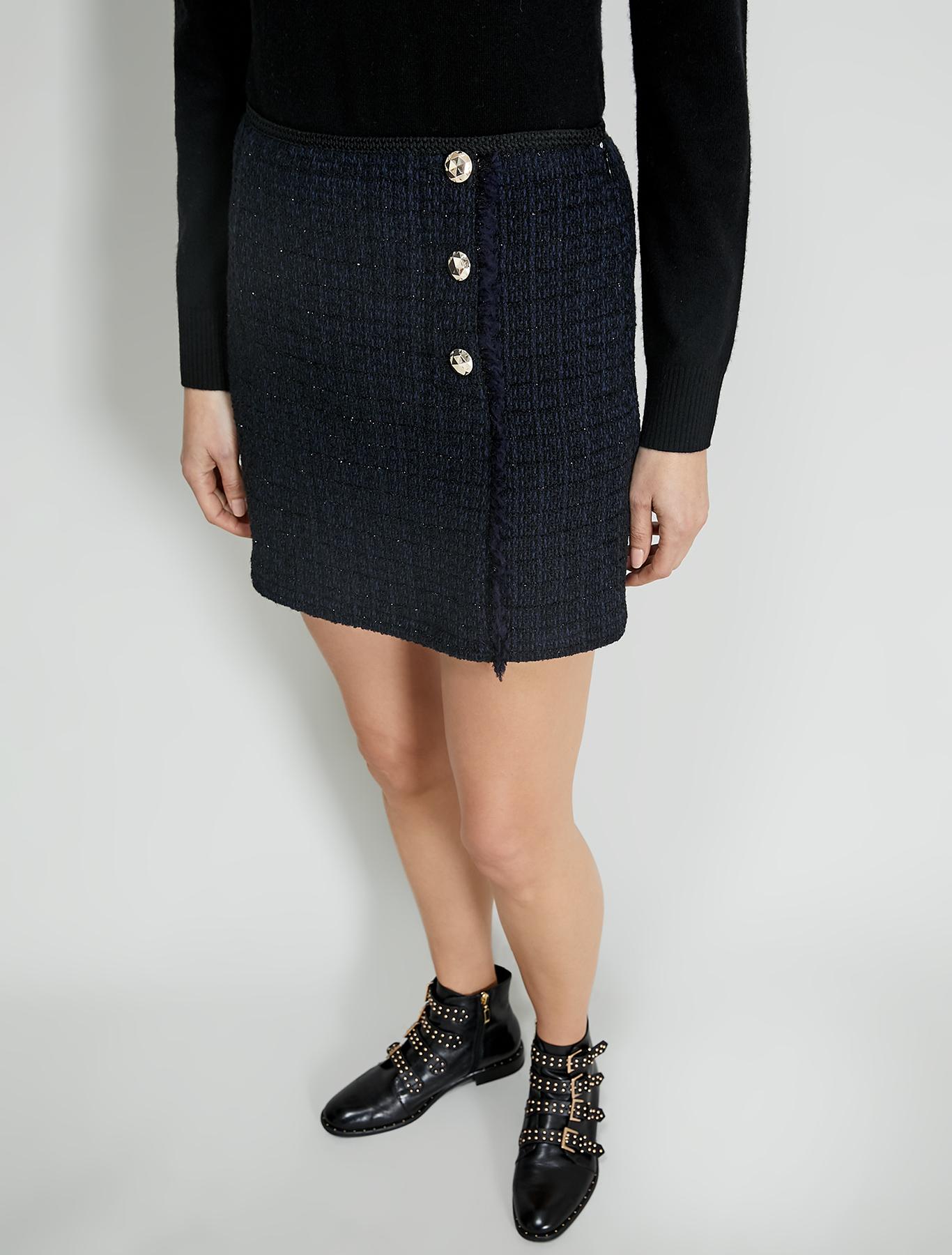 Lamé basketweave mini skirt - black pattern - pennyblack