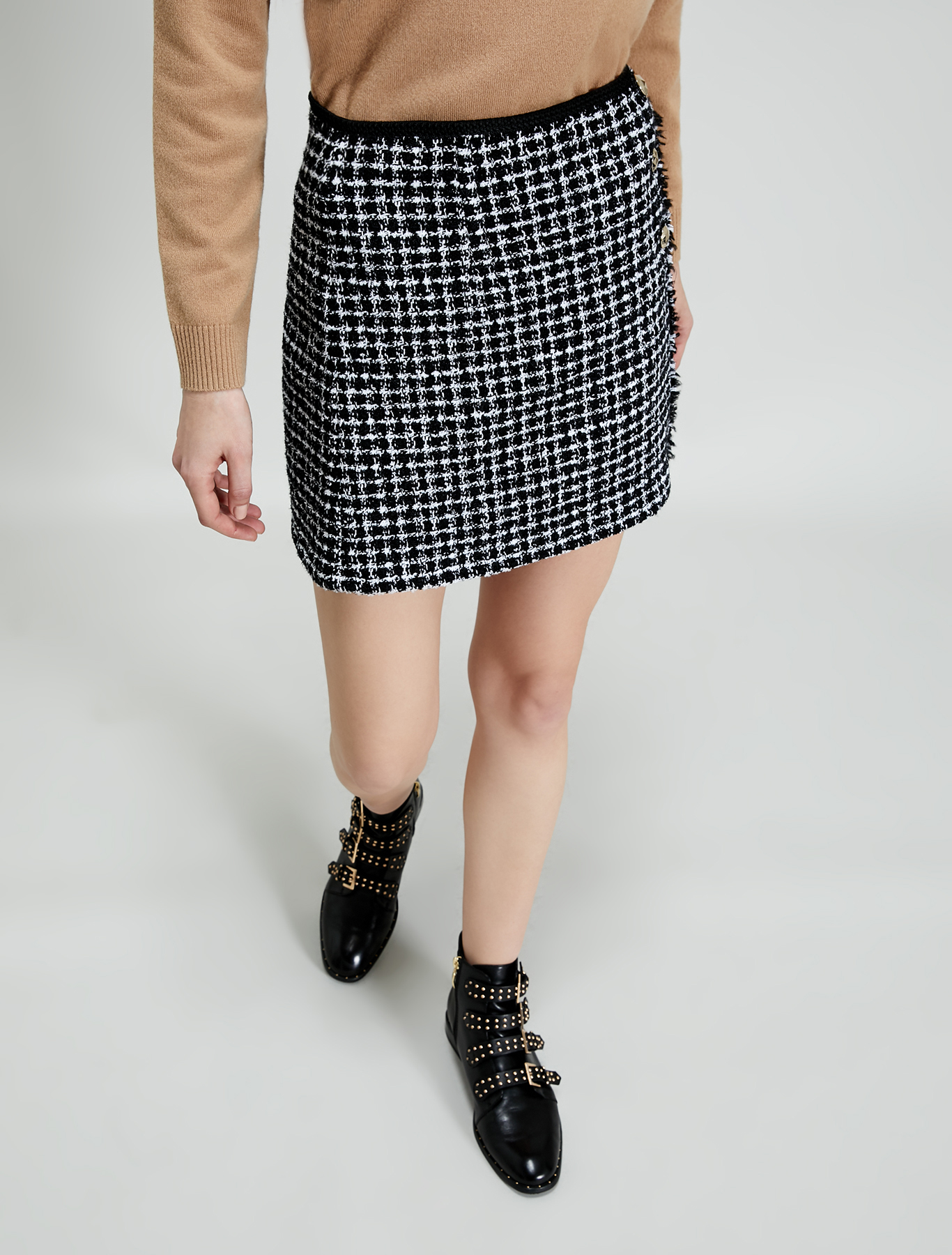 Lamé basketweave mini skirt - beige pattern - pennyblack