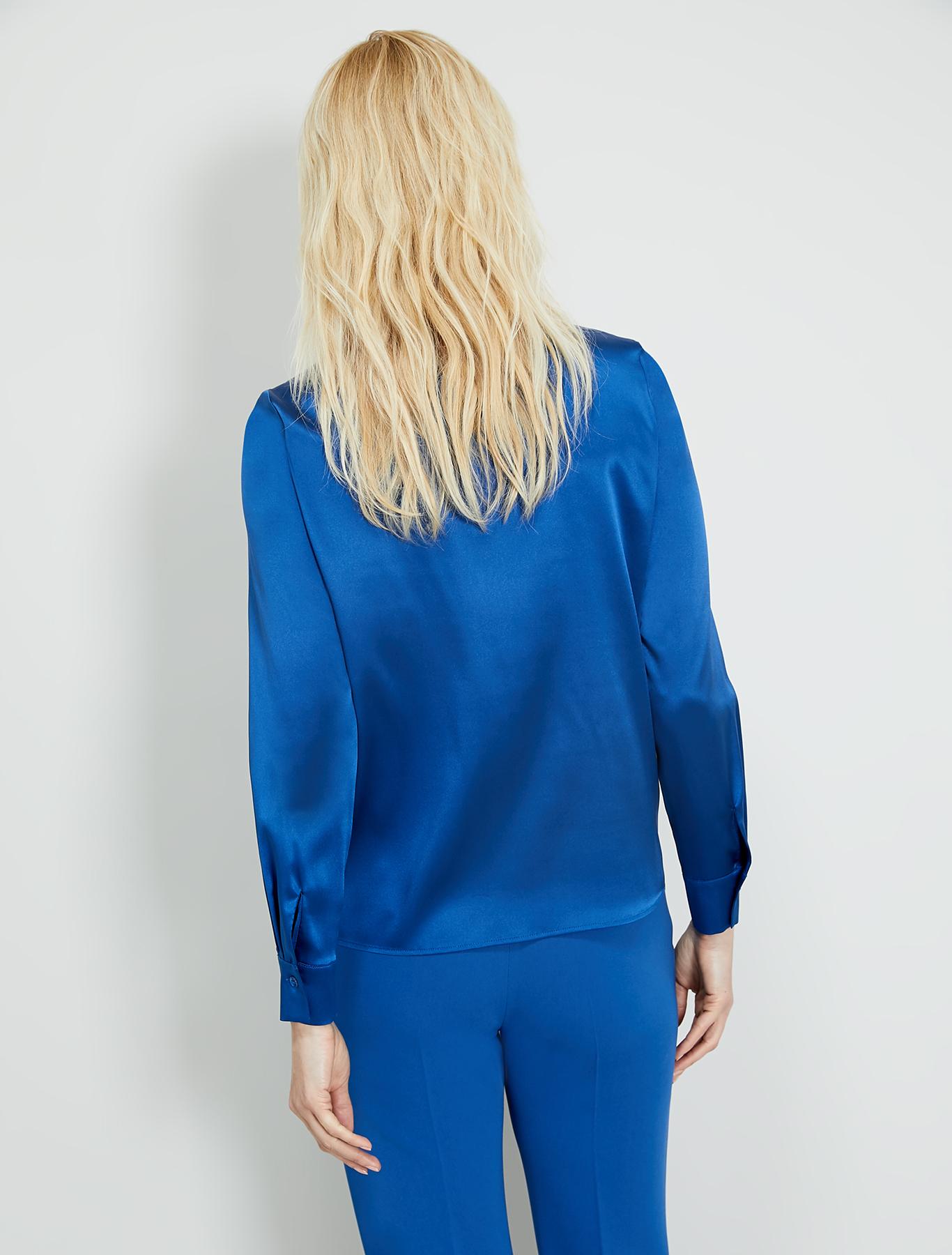 Silk satin shirt - air force blue - pennyblack