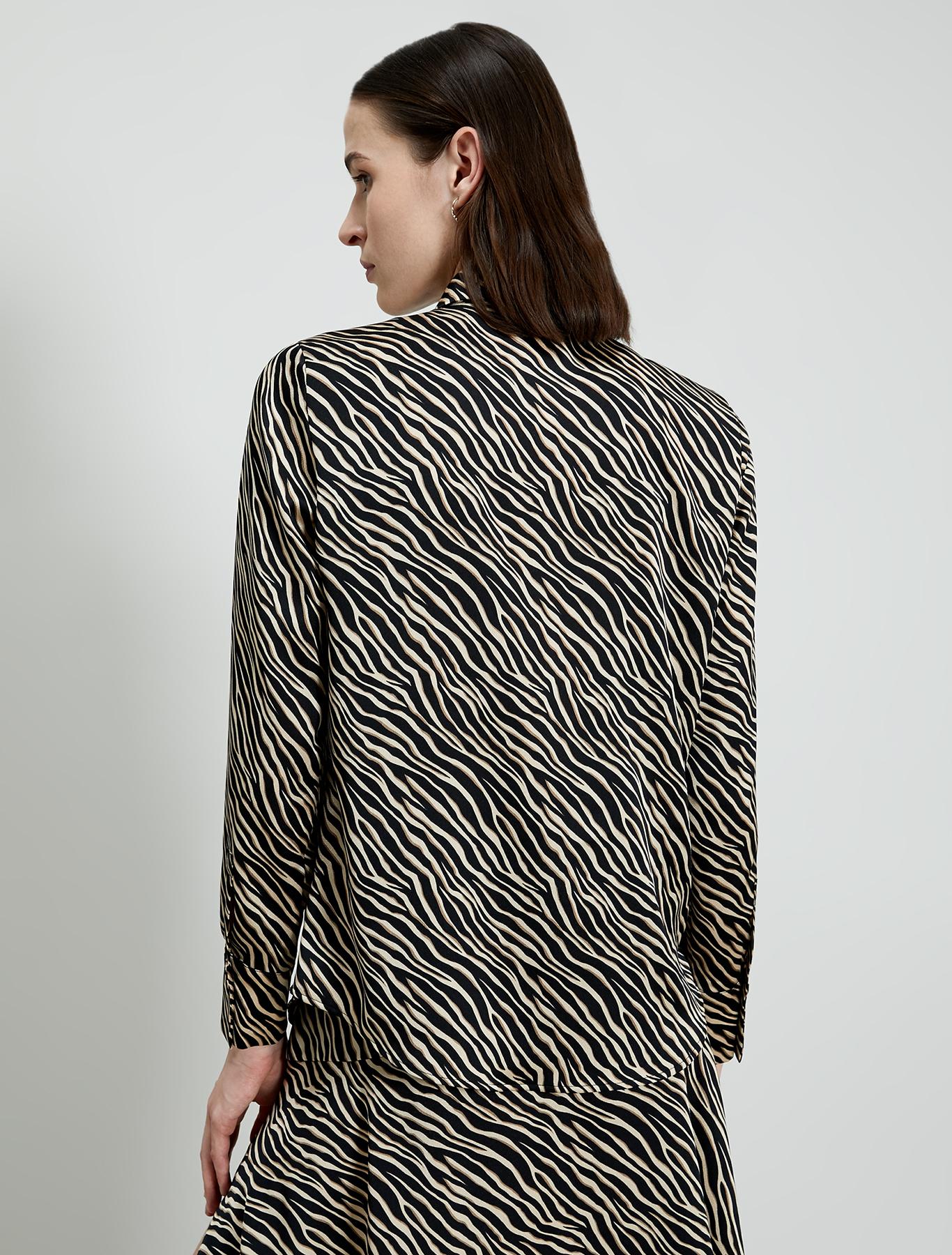 Zebra-striped satin shirt - black pattern - pennyblack