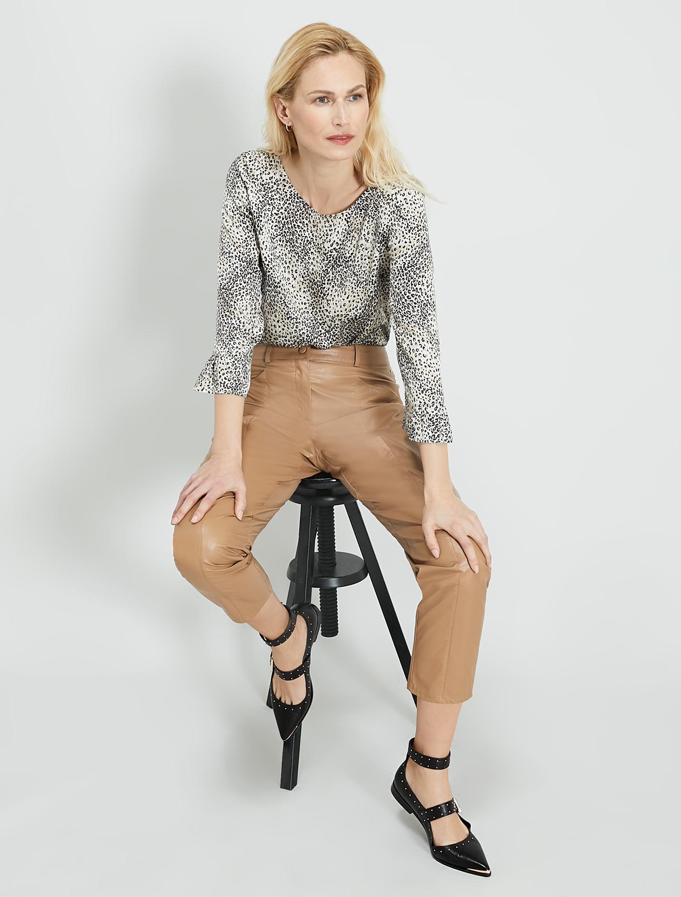 Spotted satin blouse - beige pattern - pennyblack