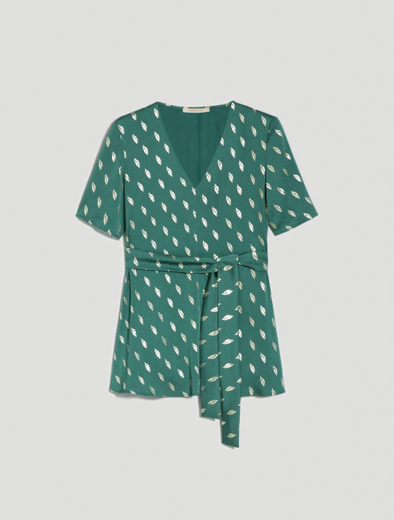 Metallic print satin blouse - green - pennyblack