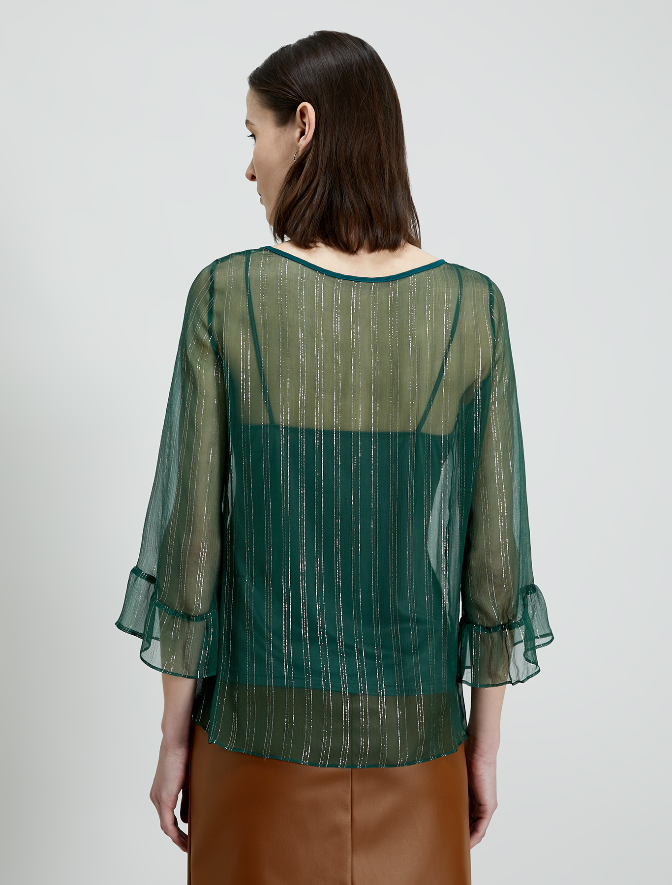 Blouse in lamé silk - green - pennyblack