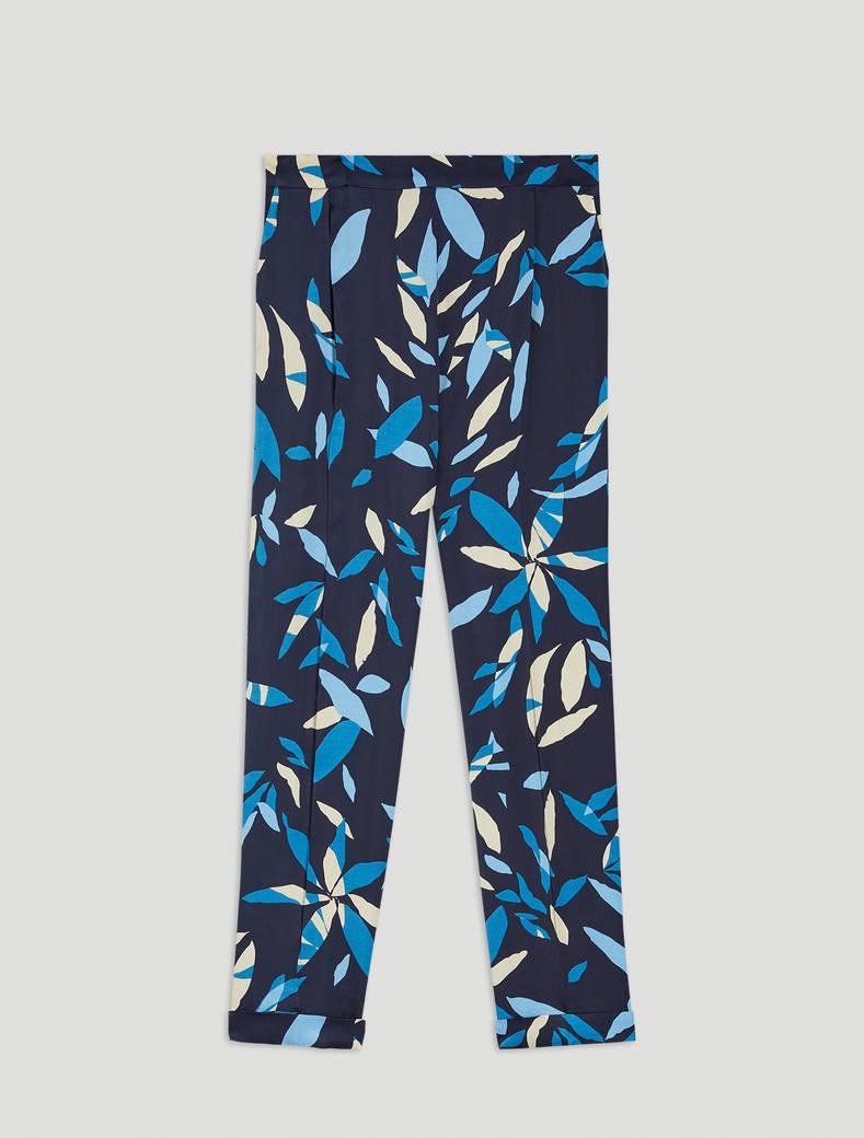 Printed satin trousers - navy blue pattern - pennyblack