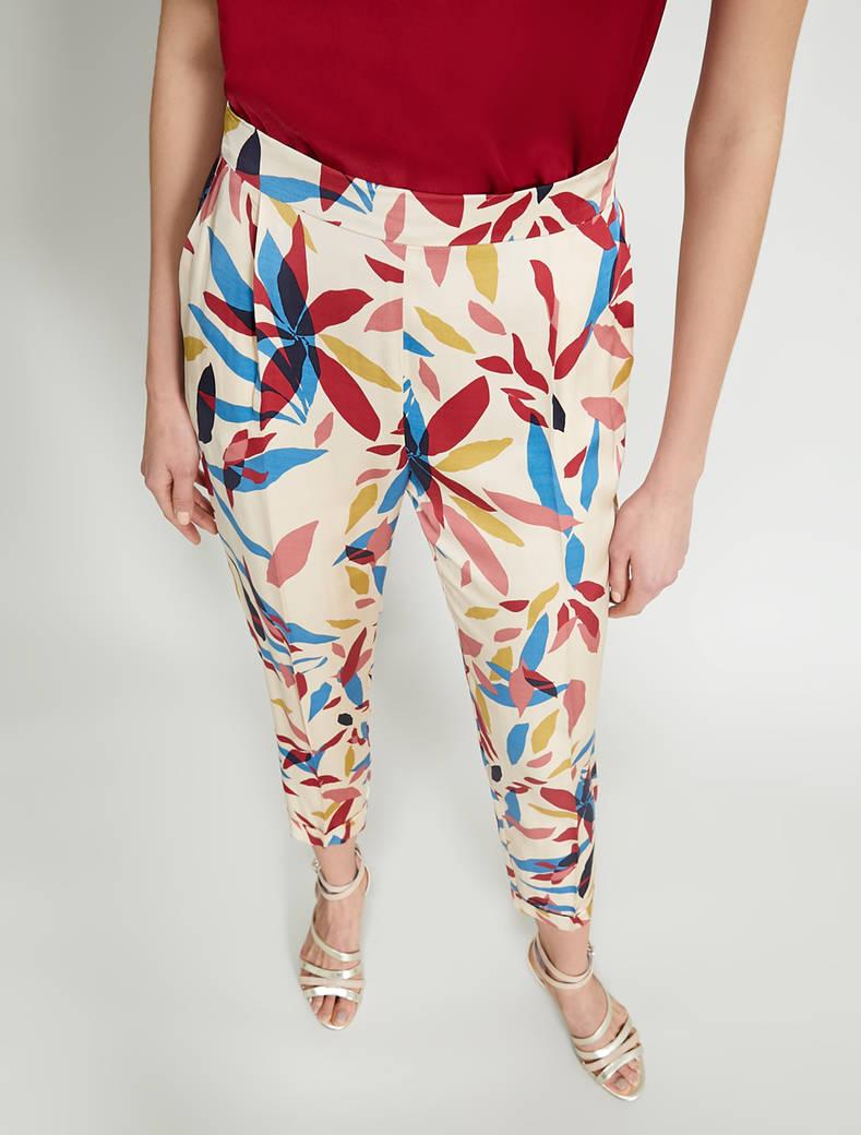 Printed satin trousers - beige pattern - pennyblack