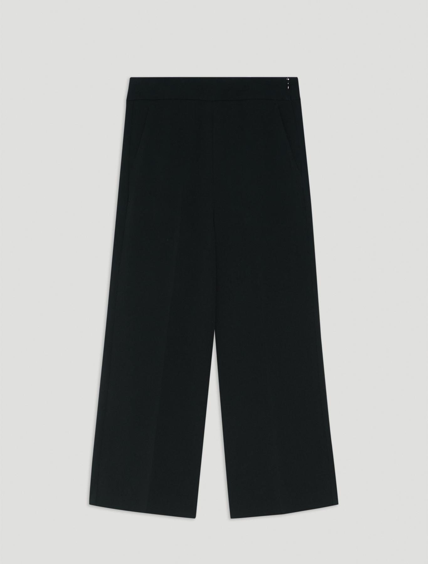Flowing fabric wide-leg trousers - black - pennyblack