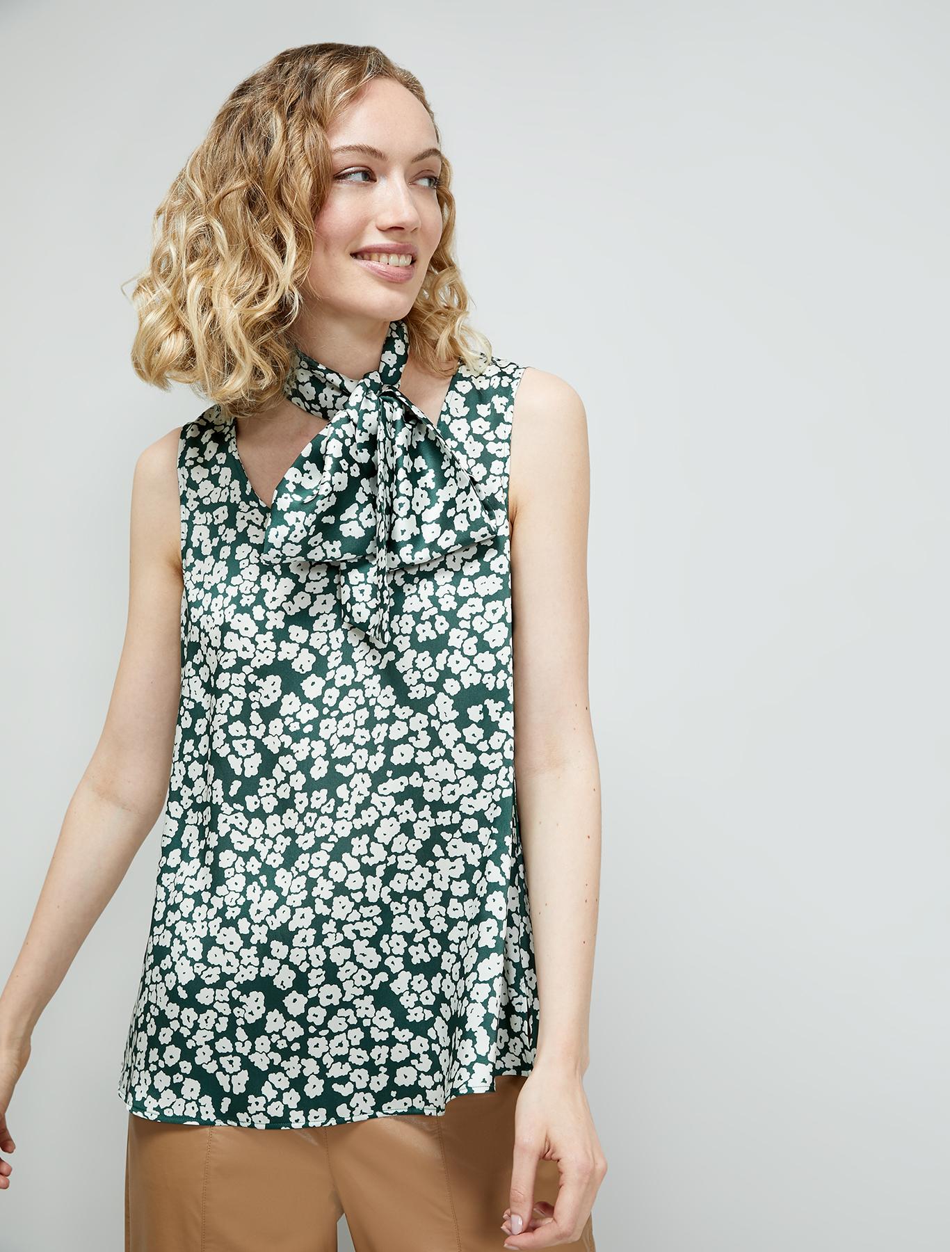 Top in fluid twill - green pattern - pennyblack