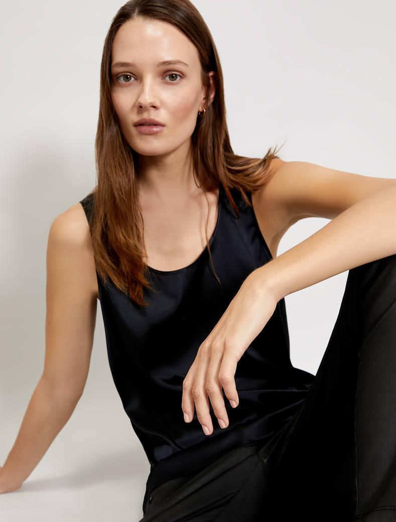 Silk satin top - black - pennyblack