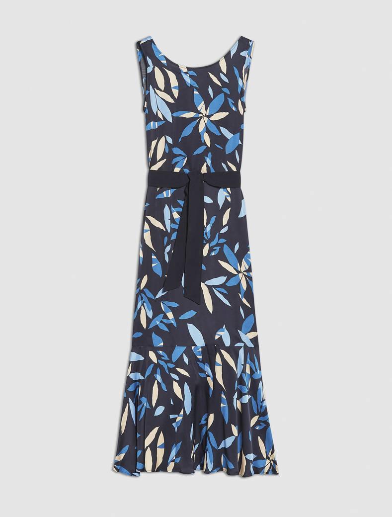 Long satin dress - navy blue pattern - pennyblack