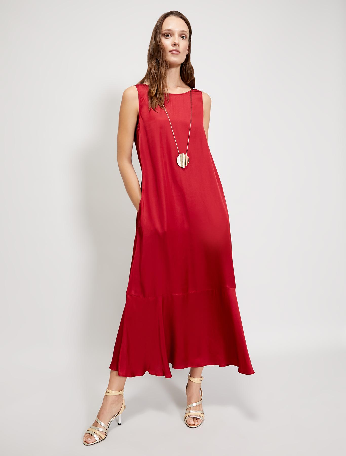 Long satin dress - burgundy - pennyblack