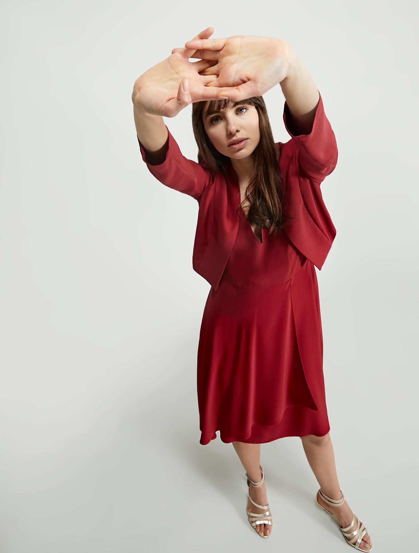 Cady dress with flounce - burgundy - pennyblack