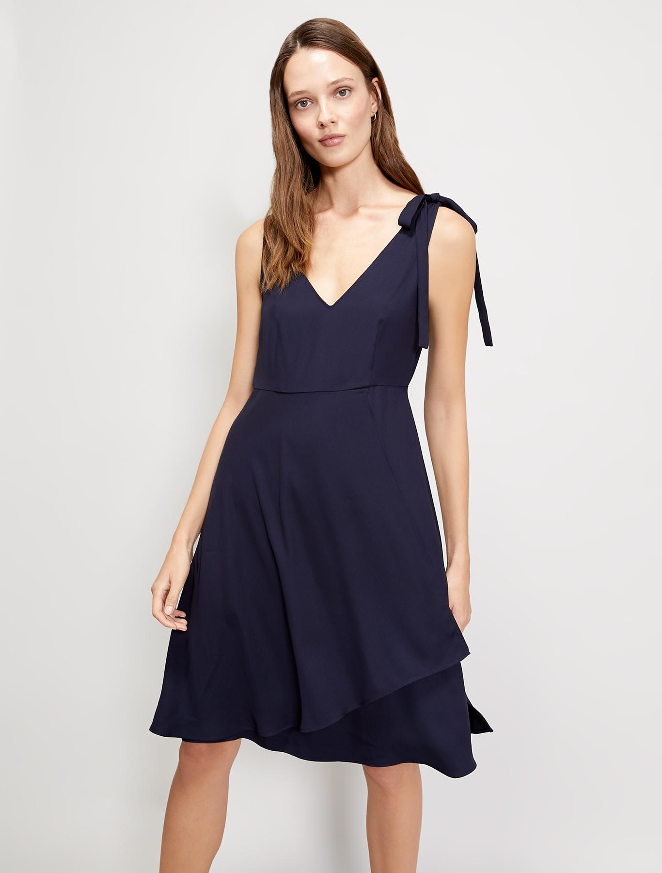 Cady dress with flounce - navy blue - pennyblack