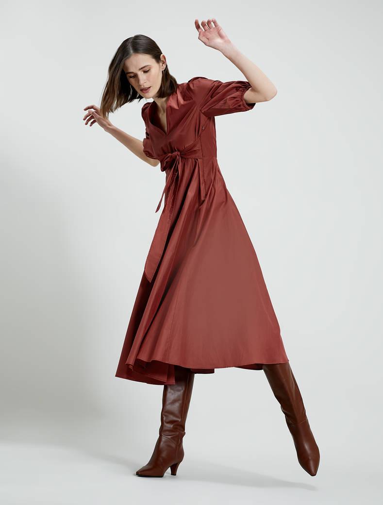 Taffeta midi dress - rust - pennyblack