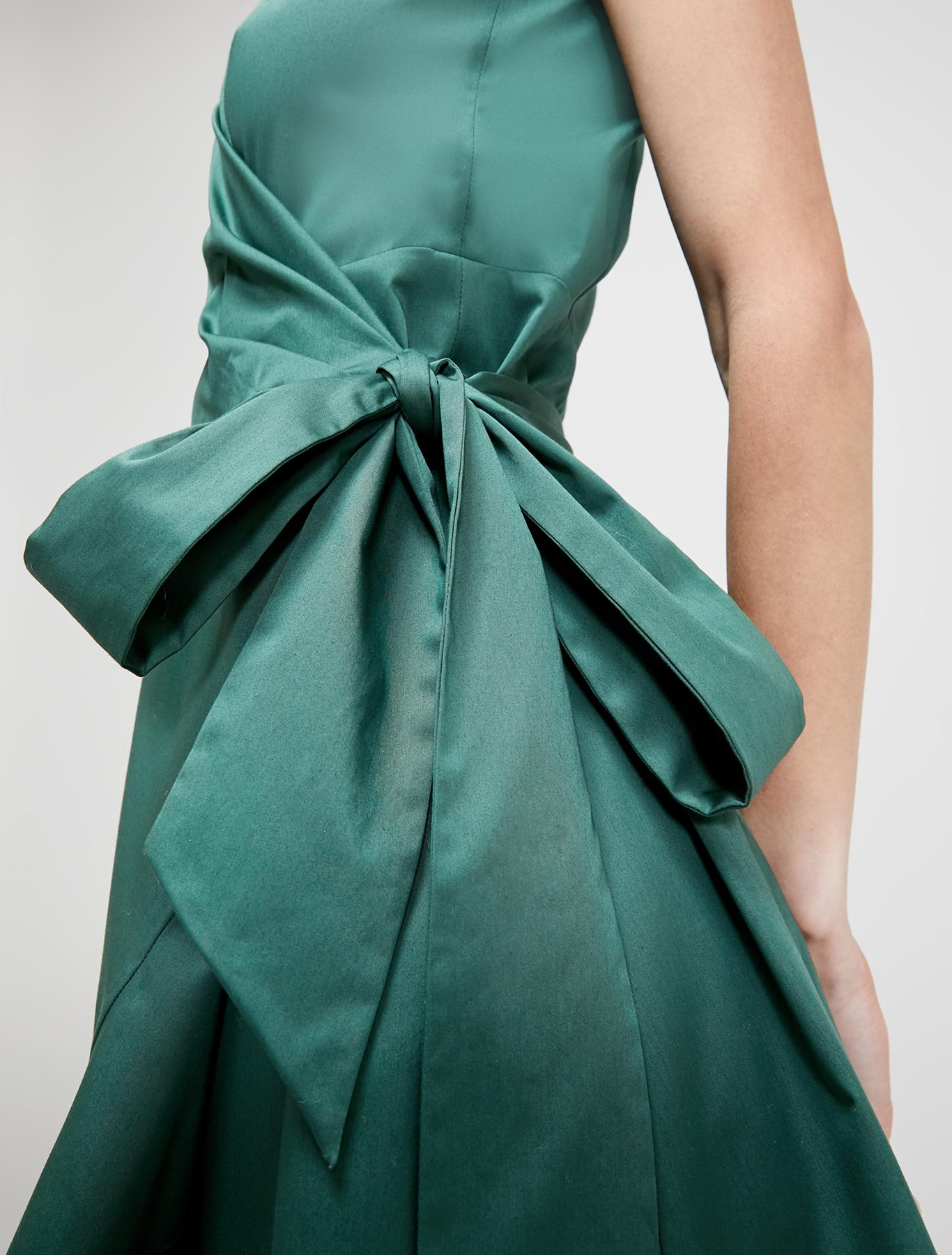 Cotton satin wrap dress - green - pennyblack
