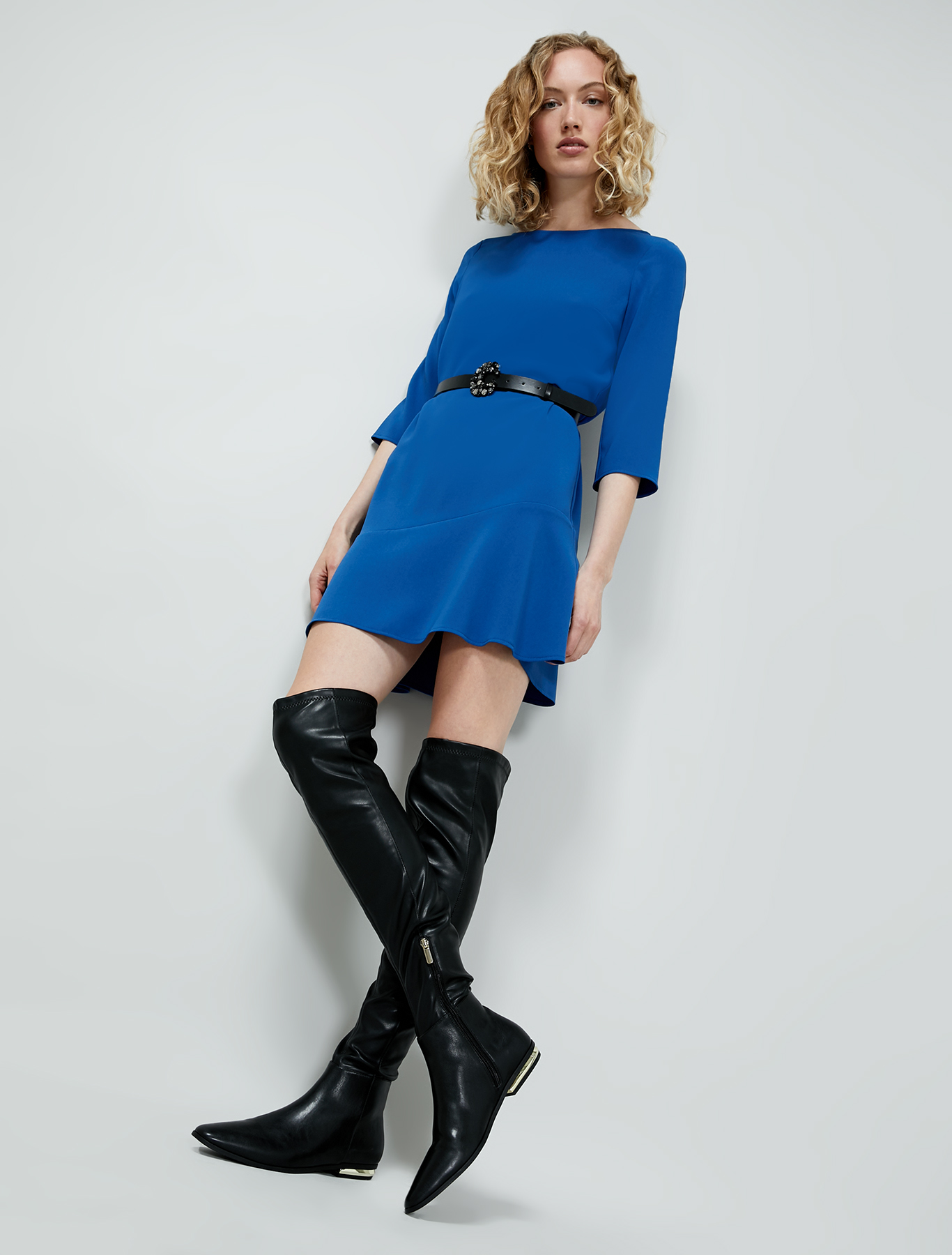 Flowing fabric dress - air force blue - pennyblack