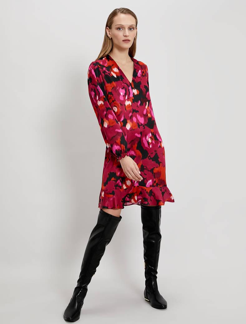 Patterned satin dress - fuchsia pattern - pennyblack