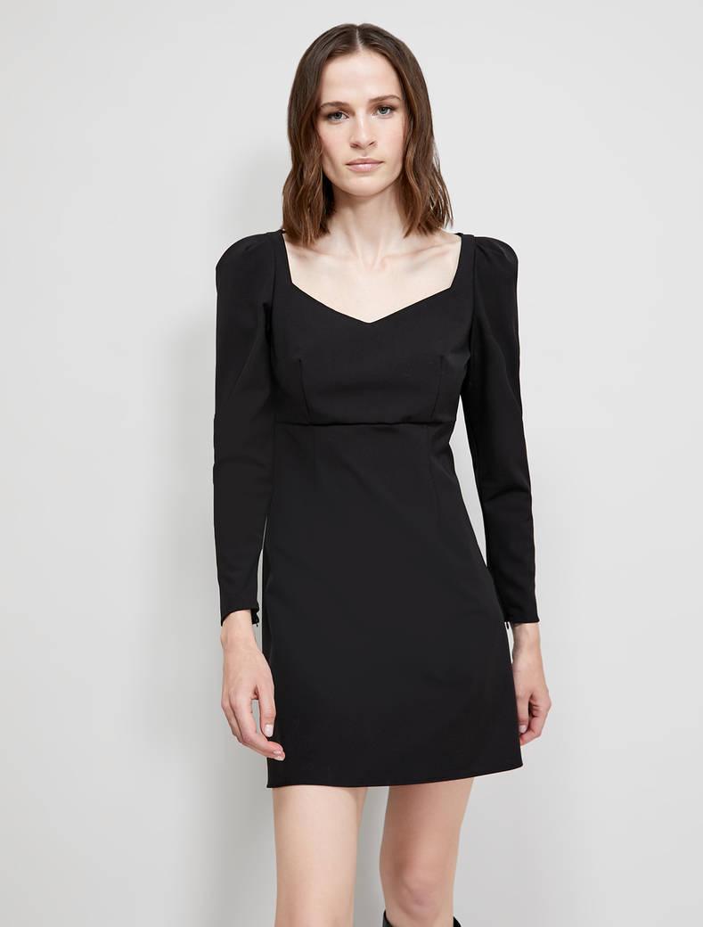 Puff-sleeved sheath dress - black - pennyblack
