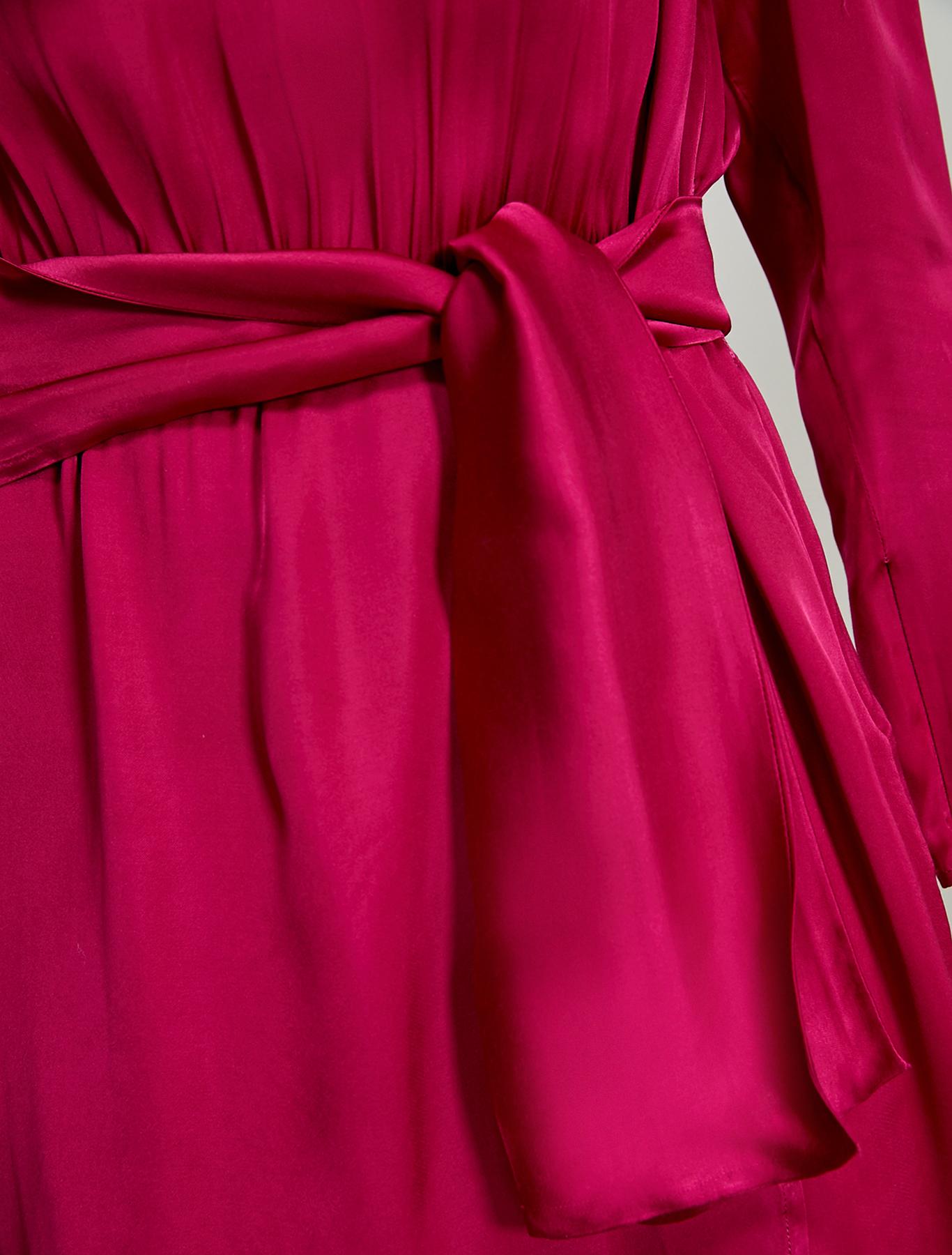 Flowing satin dress - fuchsia - pennyblack