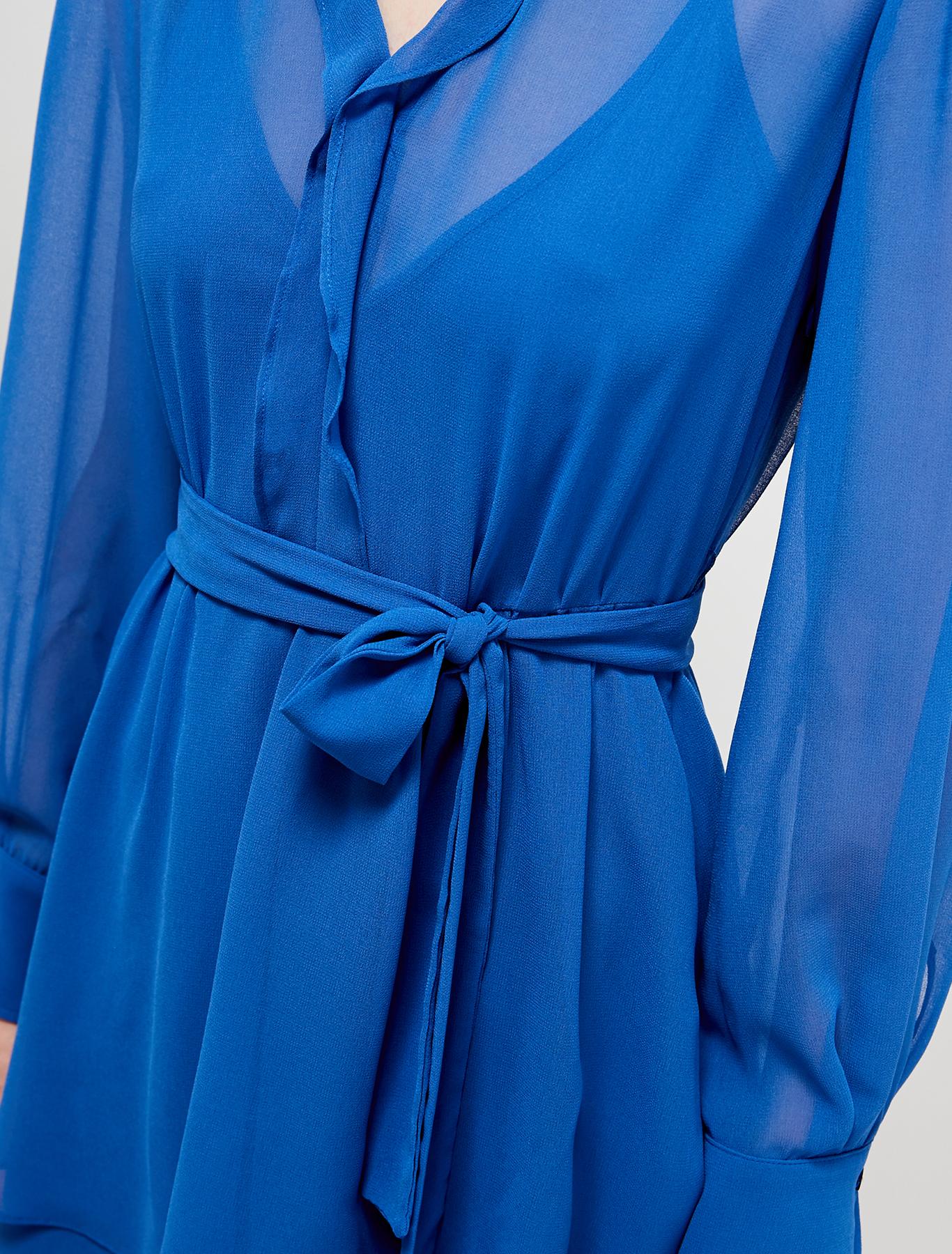 Flounced georgette dress - air force blue - pennyblack