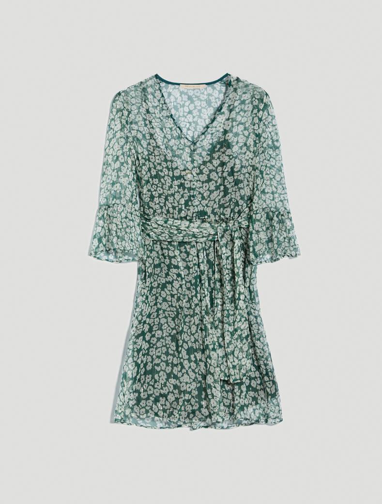 Lamé silk dress - green pattern - pennyblack
