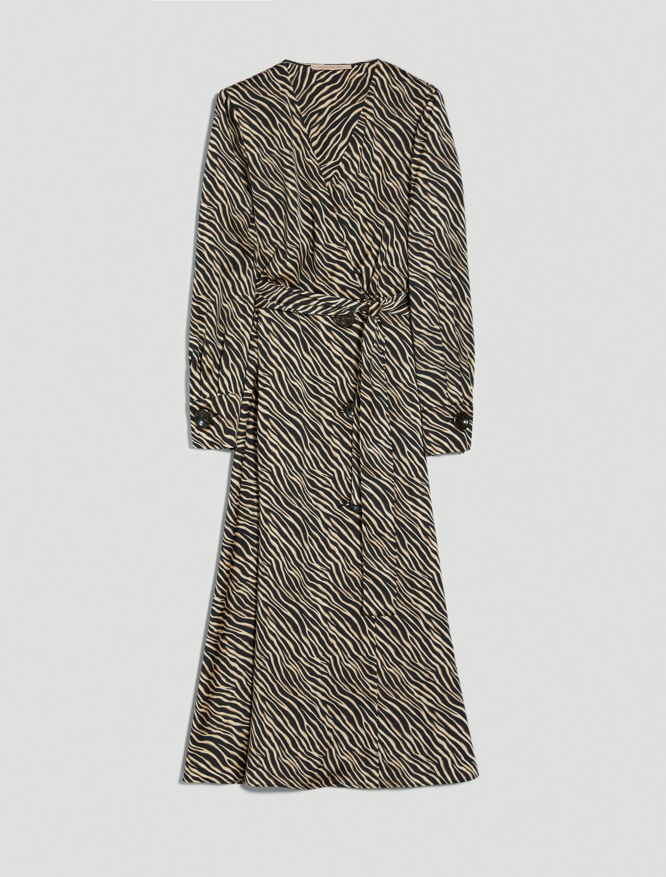 Zebra-striped satin midi dress - black pattern - pennyblack