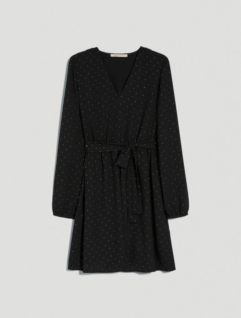 Georgette dress with studs - black pattern - pennyblack