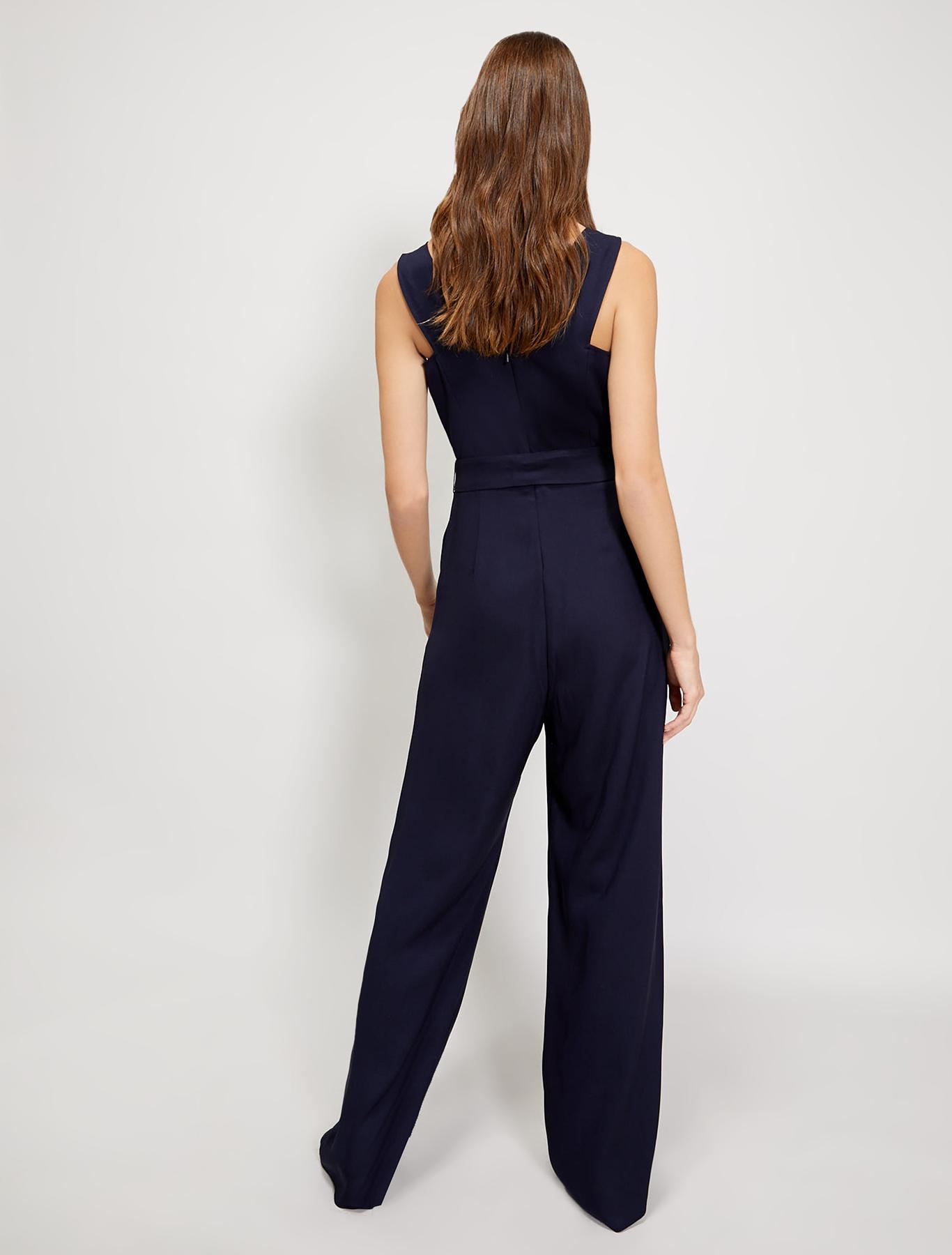 Cady jumpsuit with belt - navy blue - pennyblack