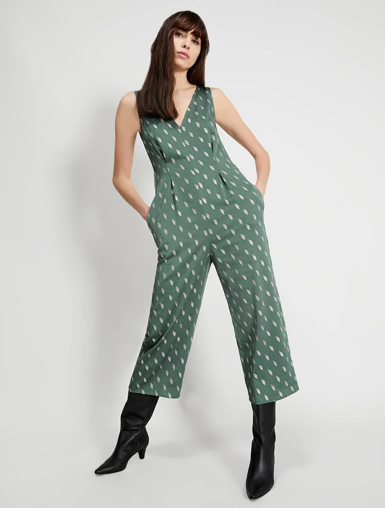 Metallic print satin jumpsuit - green - pennyblack
