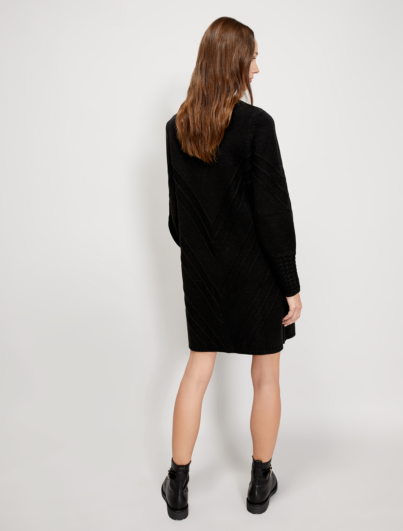 Ribbed and cable-knit jumper dress - black - pennyblack