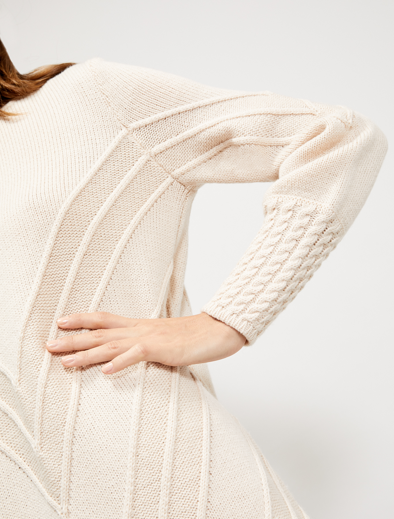 Ribbed and cable-knit jumper dress - powder pink - pennyblack