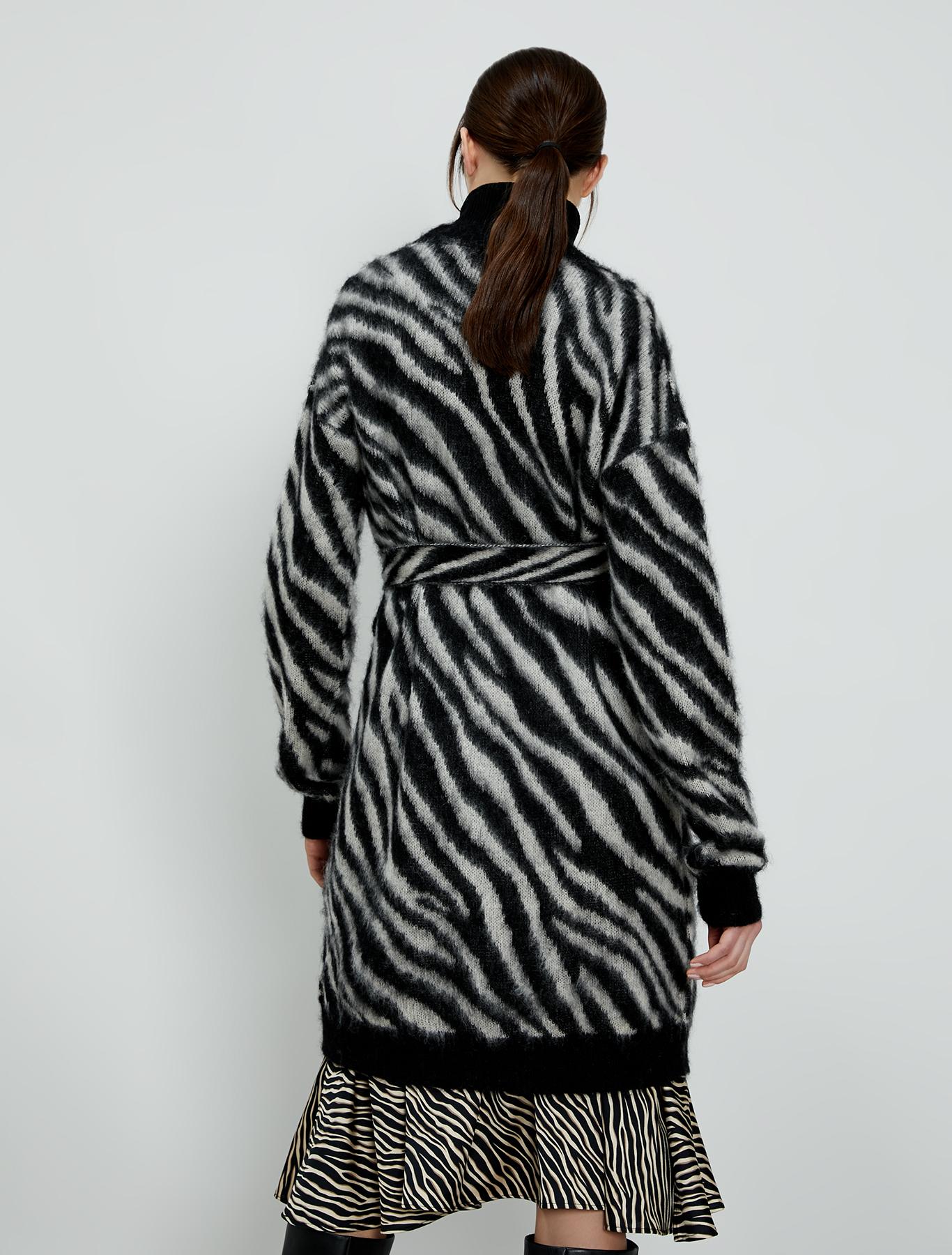 Zebra-striped jacquard cardigan - black - pennyblack