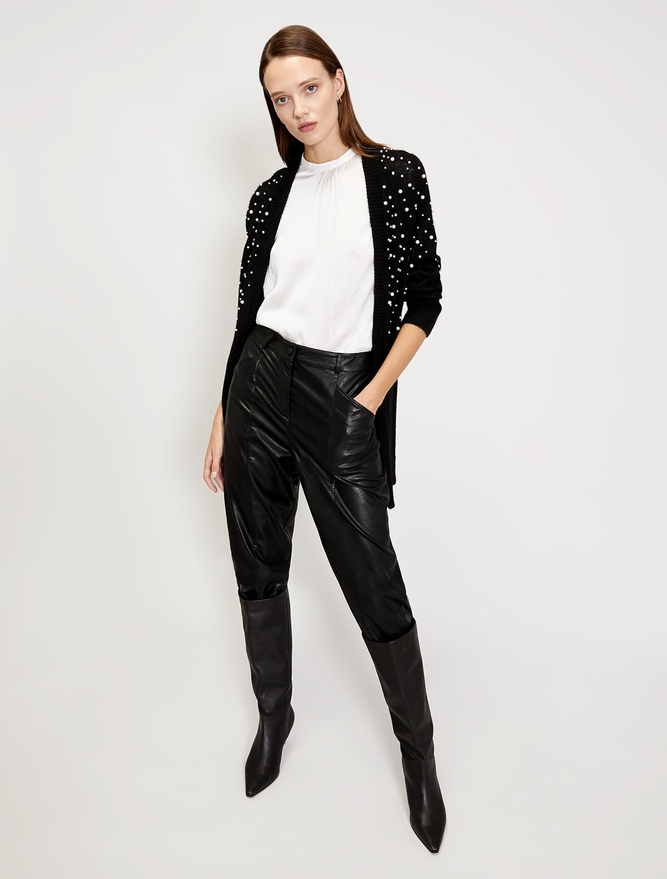 Alpaca cardigan with pearls - black - pennyblack