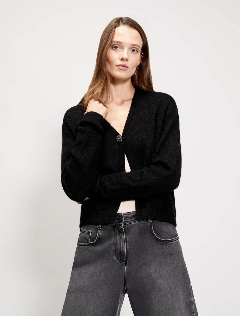 Micro-sequin cardigan - black - pennyblack