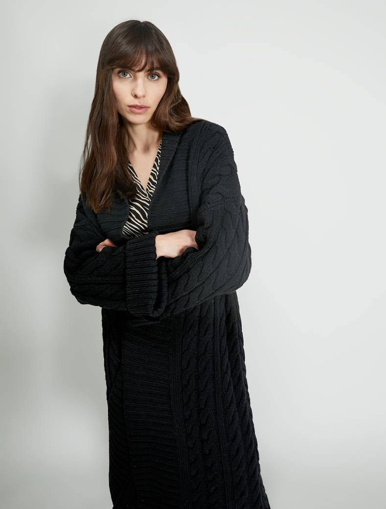 Cable and ribbed knit cardi-coat - black - pennyblack
