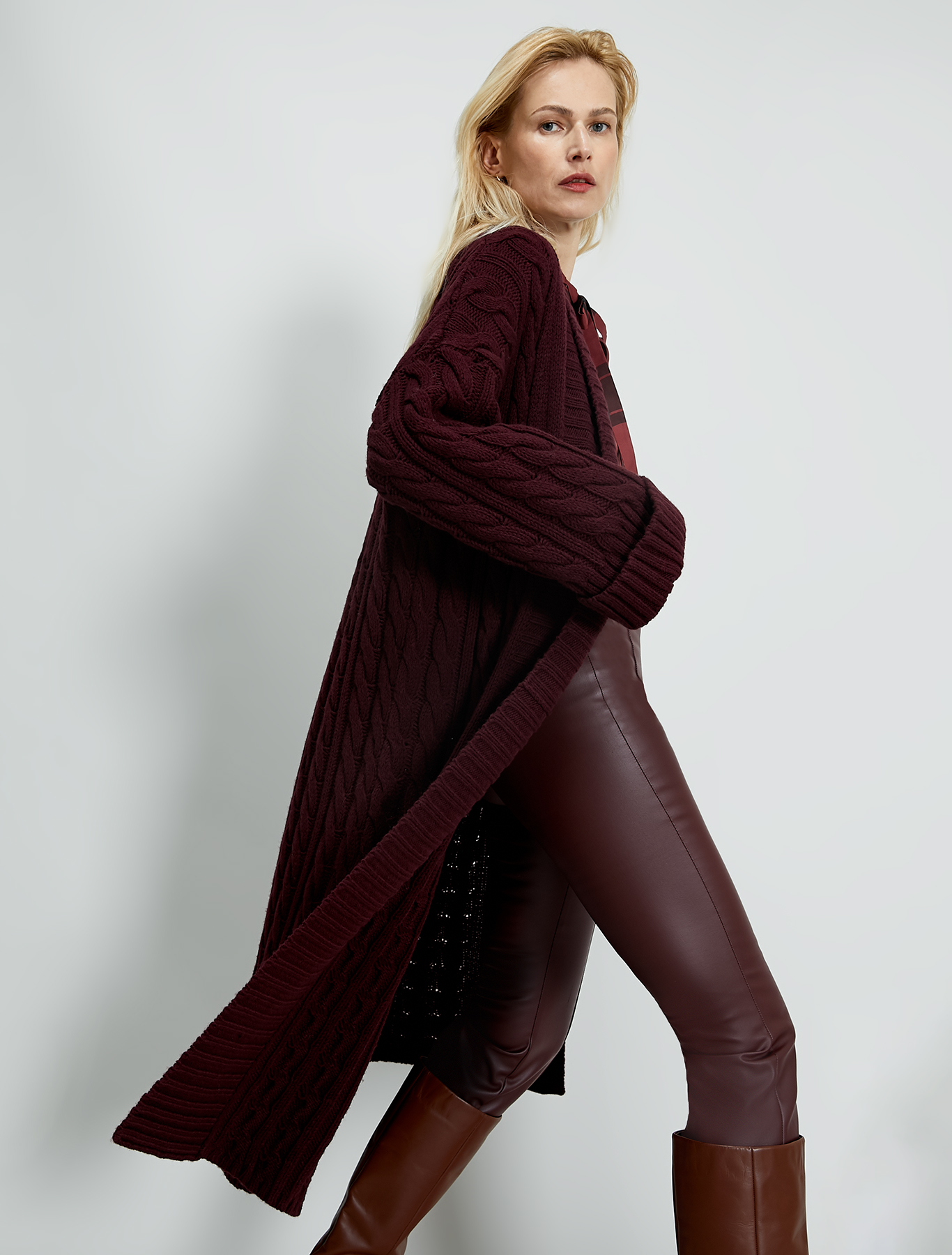 Cable and ribbed knit cardi-coat - burgundy - pennyblack