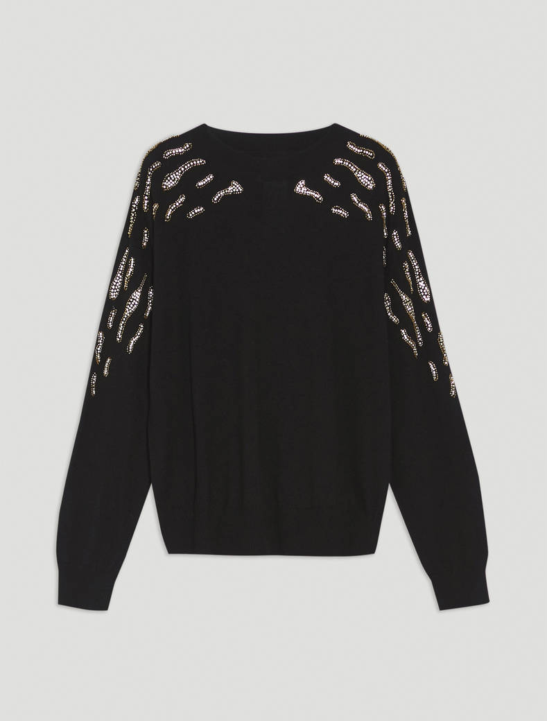 Jumper with jewelled embroidery - black - pennyblack
