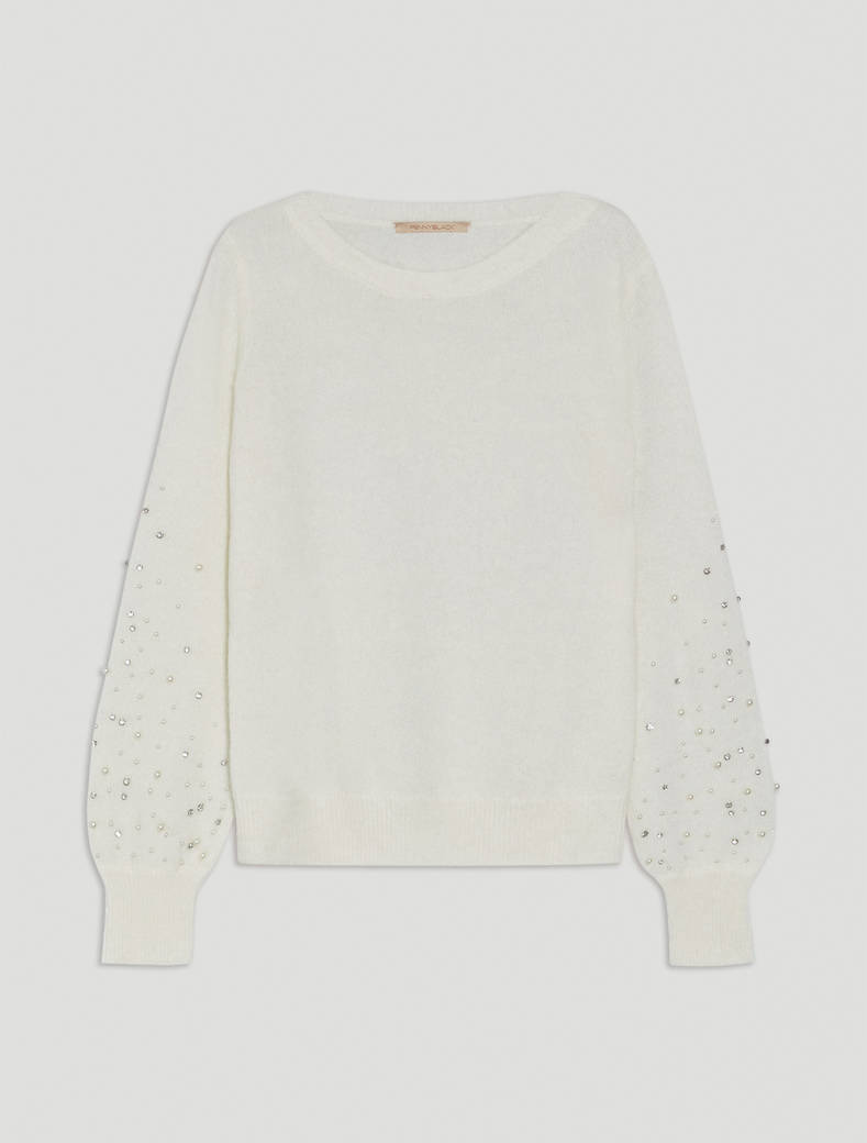Alpaca sweater with pearls - ivory - pennyblack