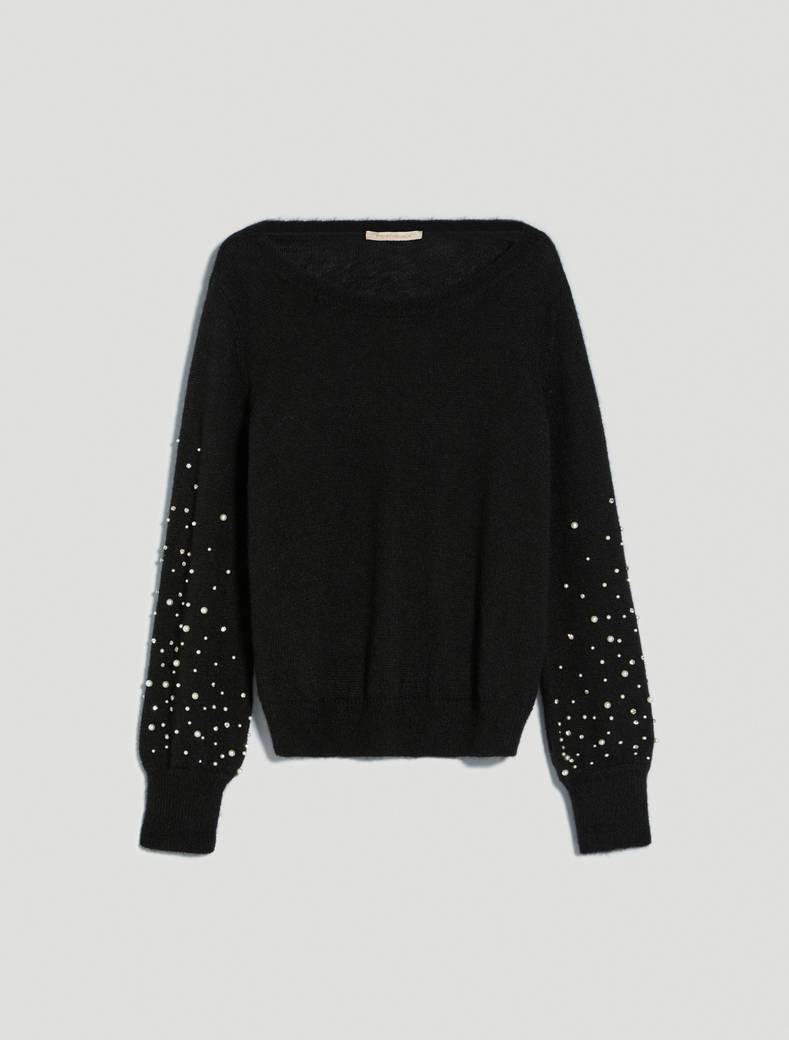 Alpaca sweater with pearls - black - pennyblack