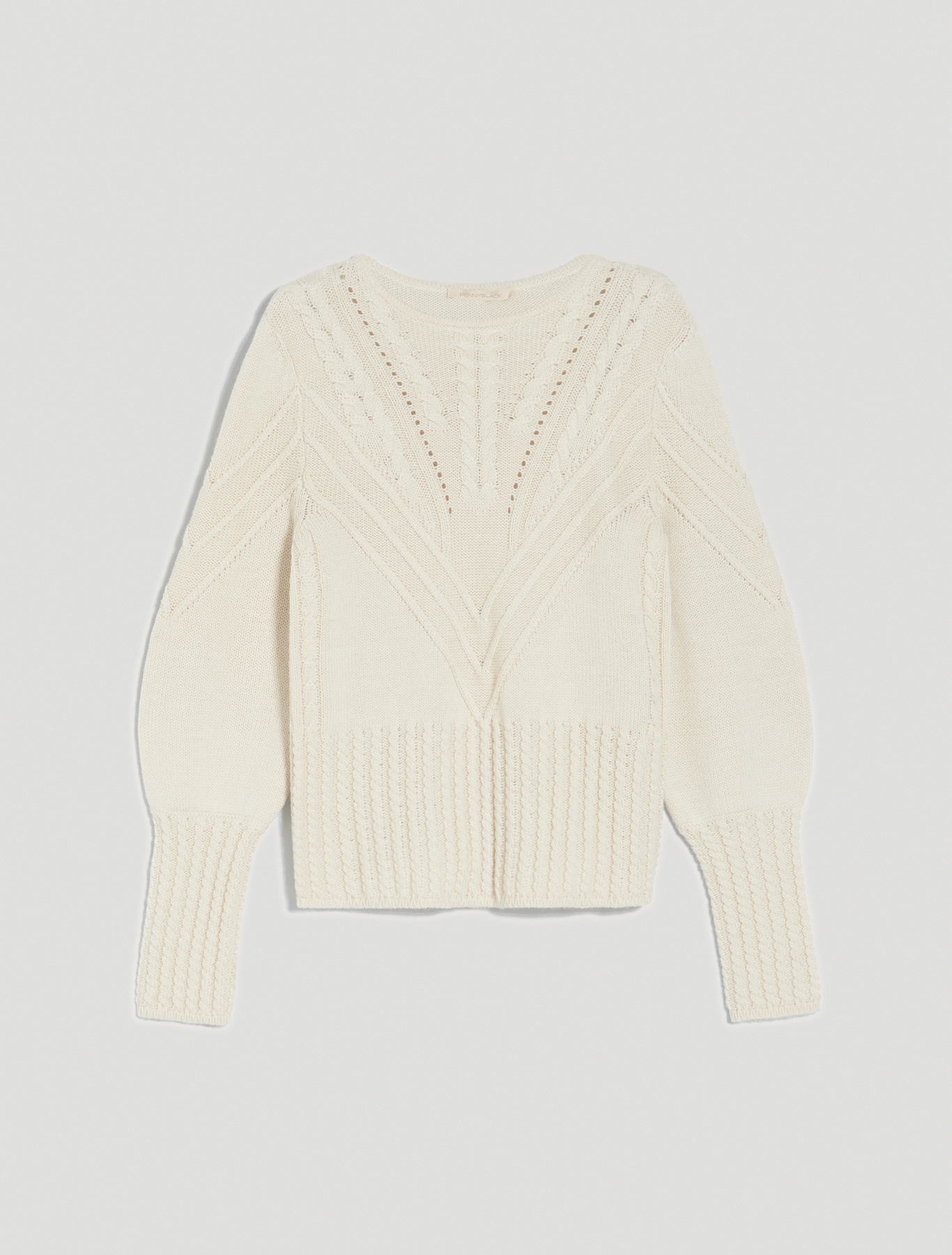 Cable-knit ribbed pullover - powder pink - pennyblack