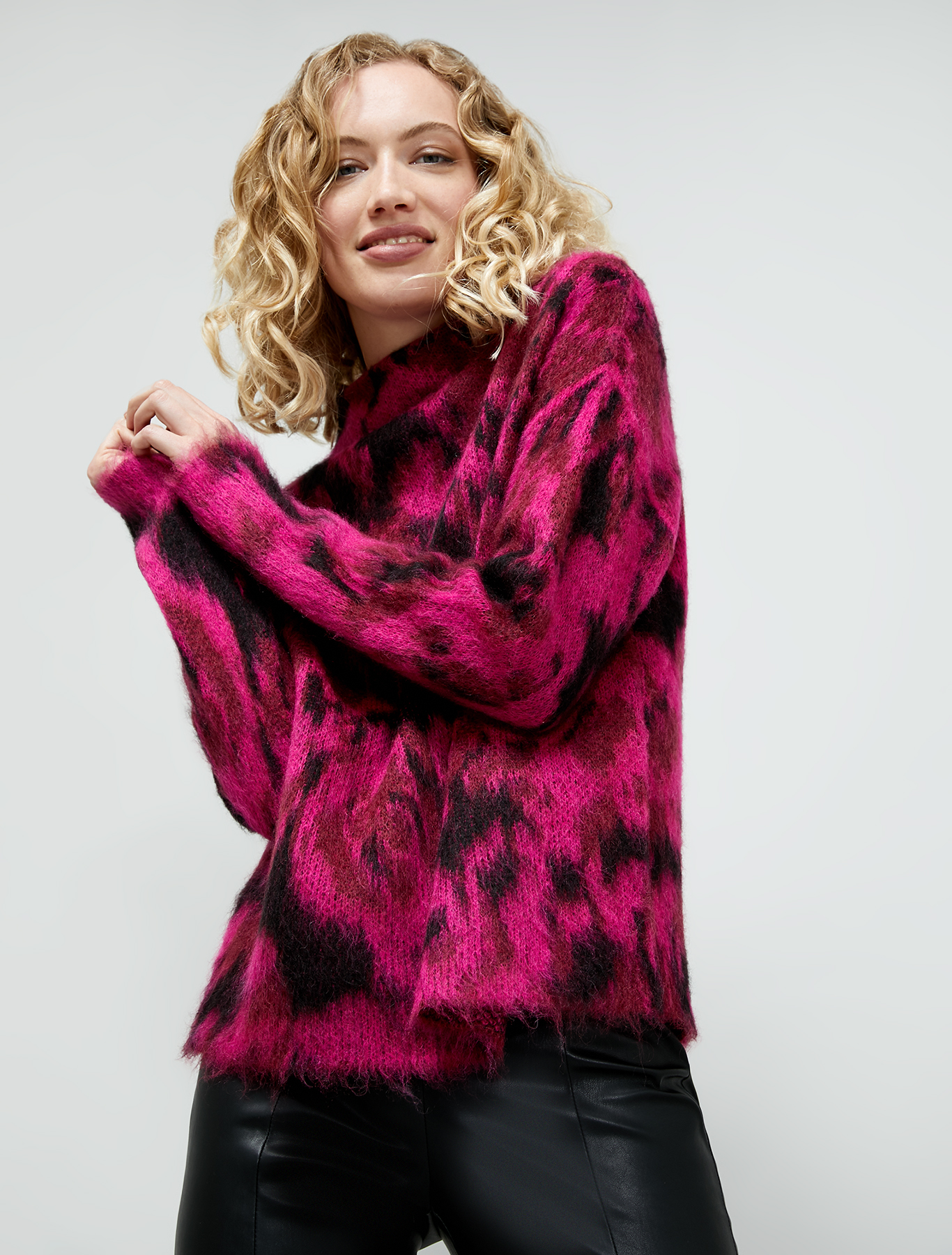Jacquard mohair pullover - red - pennyblack