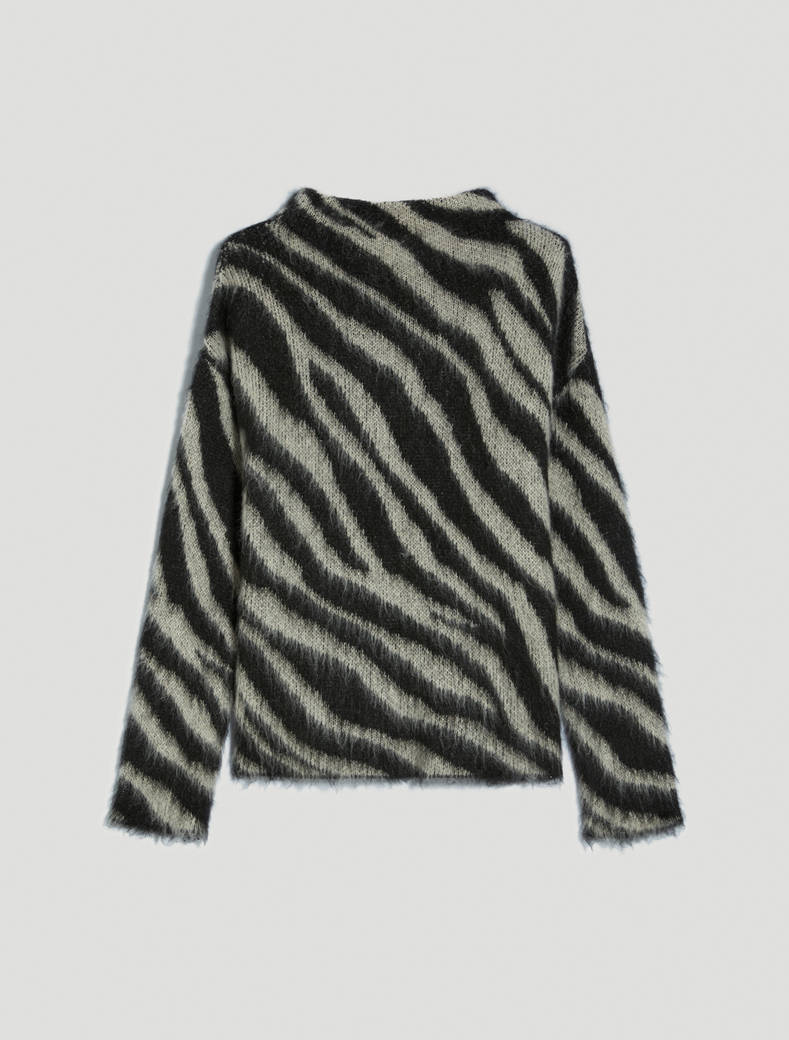 Jacquard mohair pullover - black - pennyblack