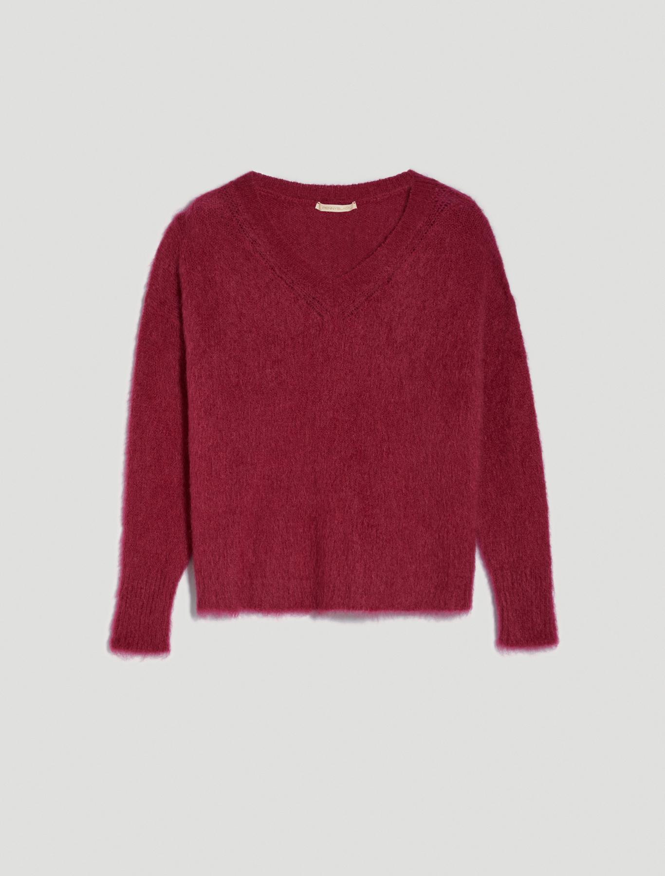 Mohair blend pullover - burgundy - pennyblack