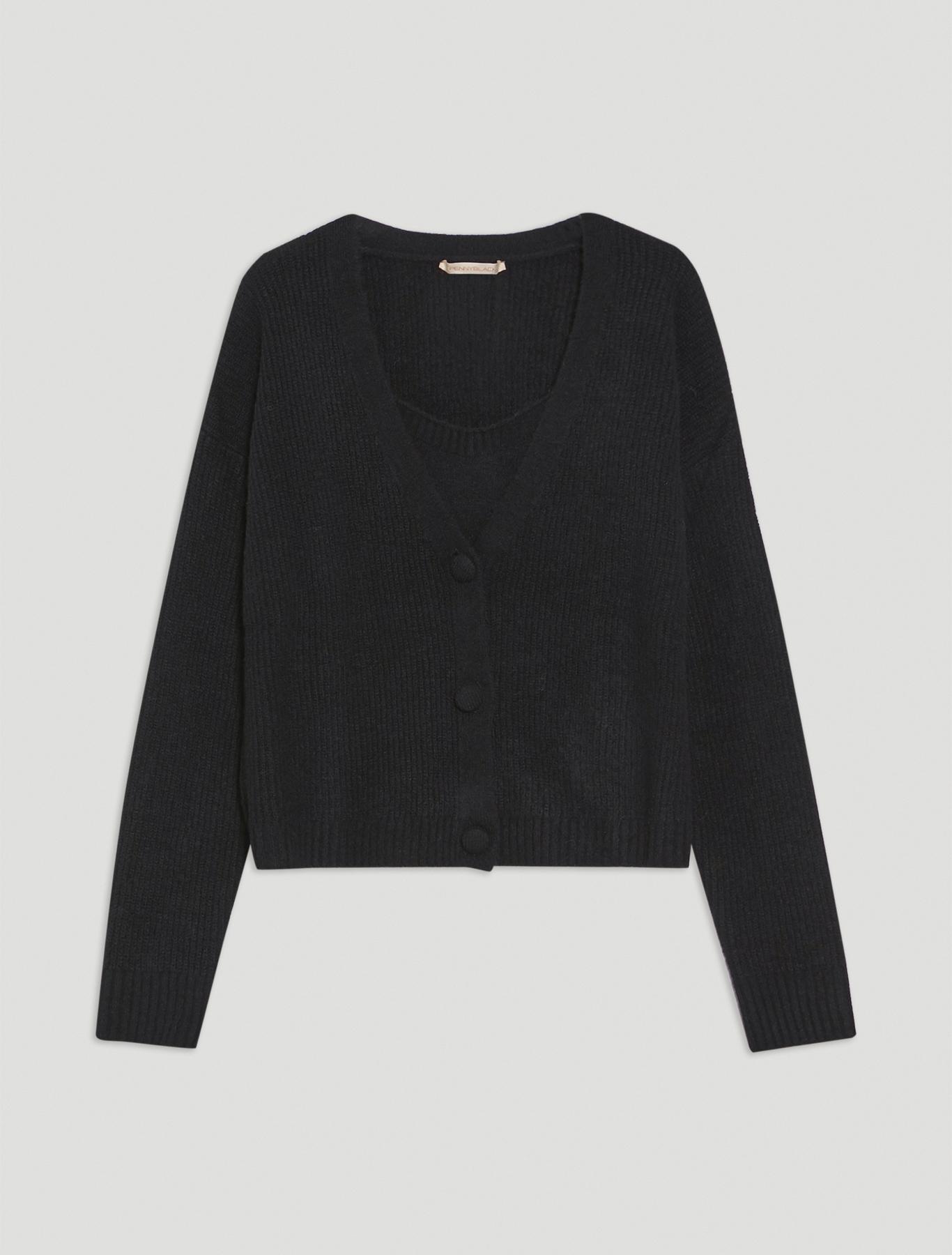 Twin set in wool blend - black - pennyblack