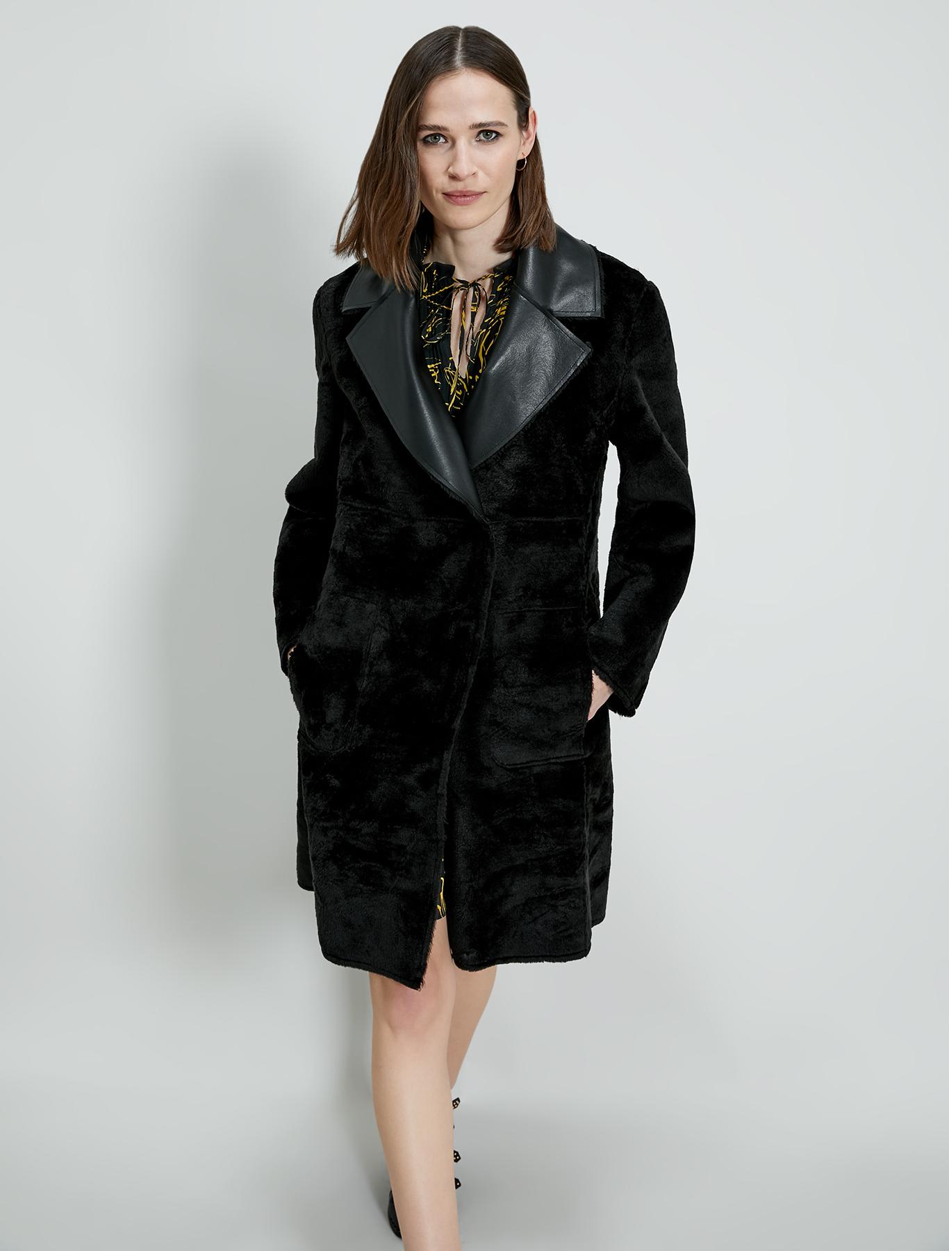 Reversible coat with belt - black - pennyblack