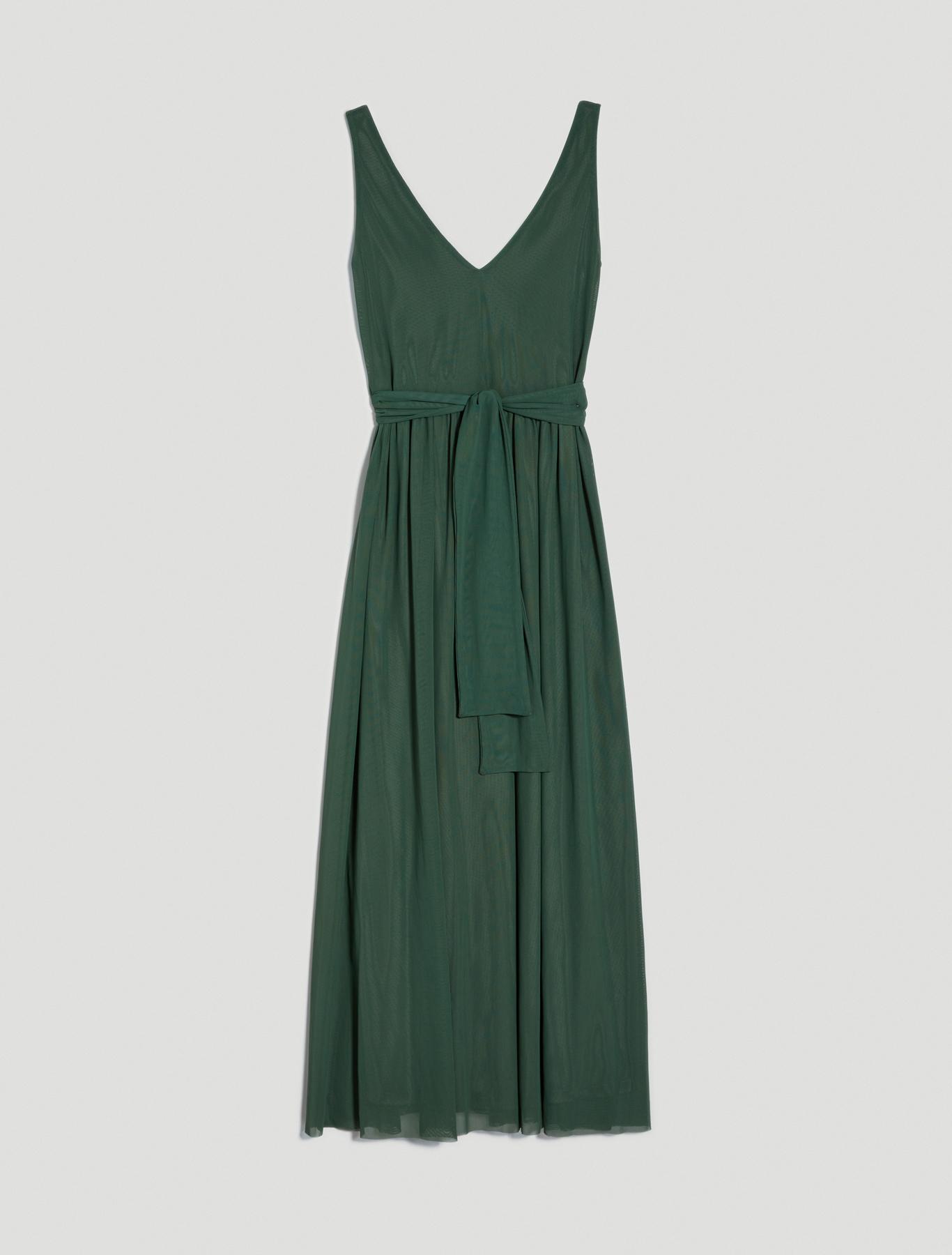 Long tulle jersey dress - green - pennyblack