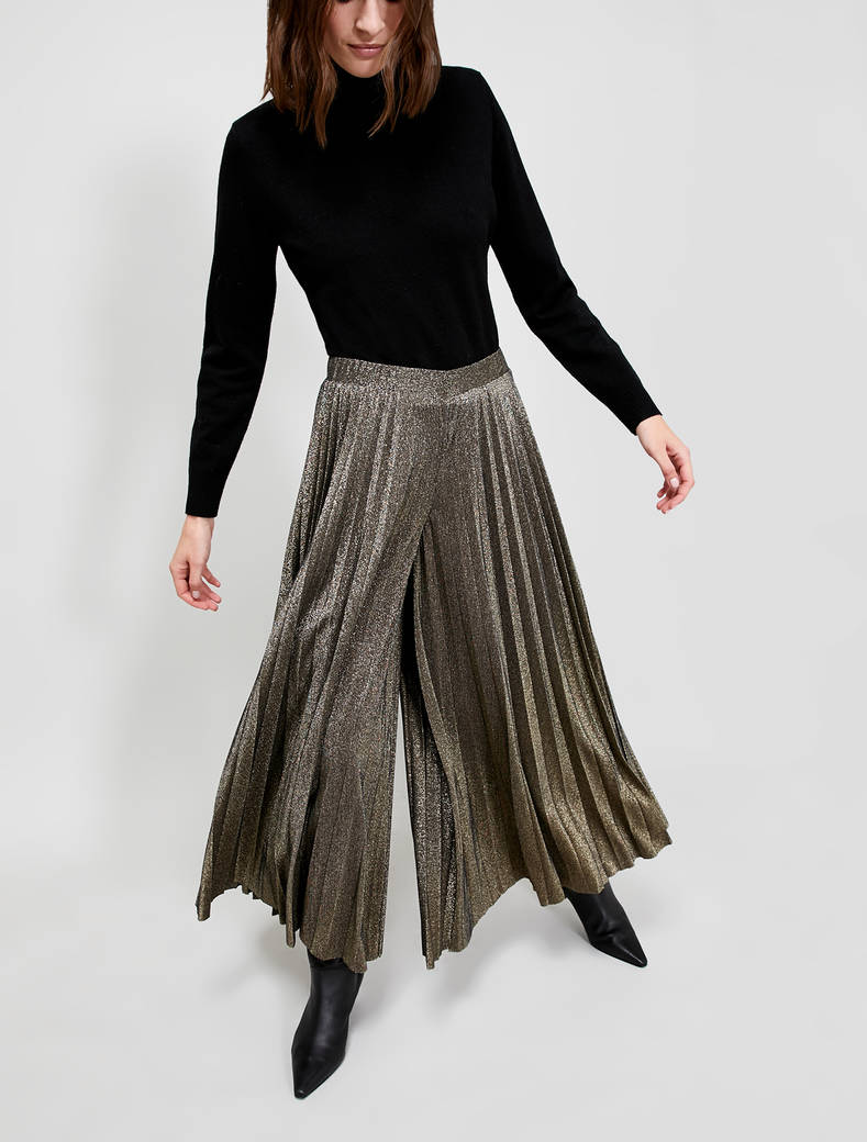 Lamé jersey culottes - bronze - pennyblack